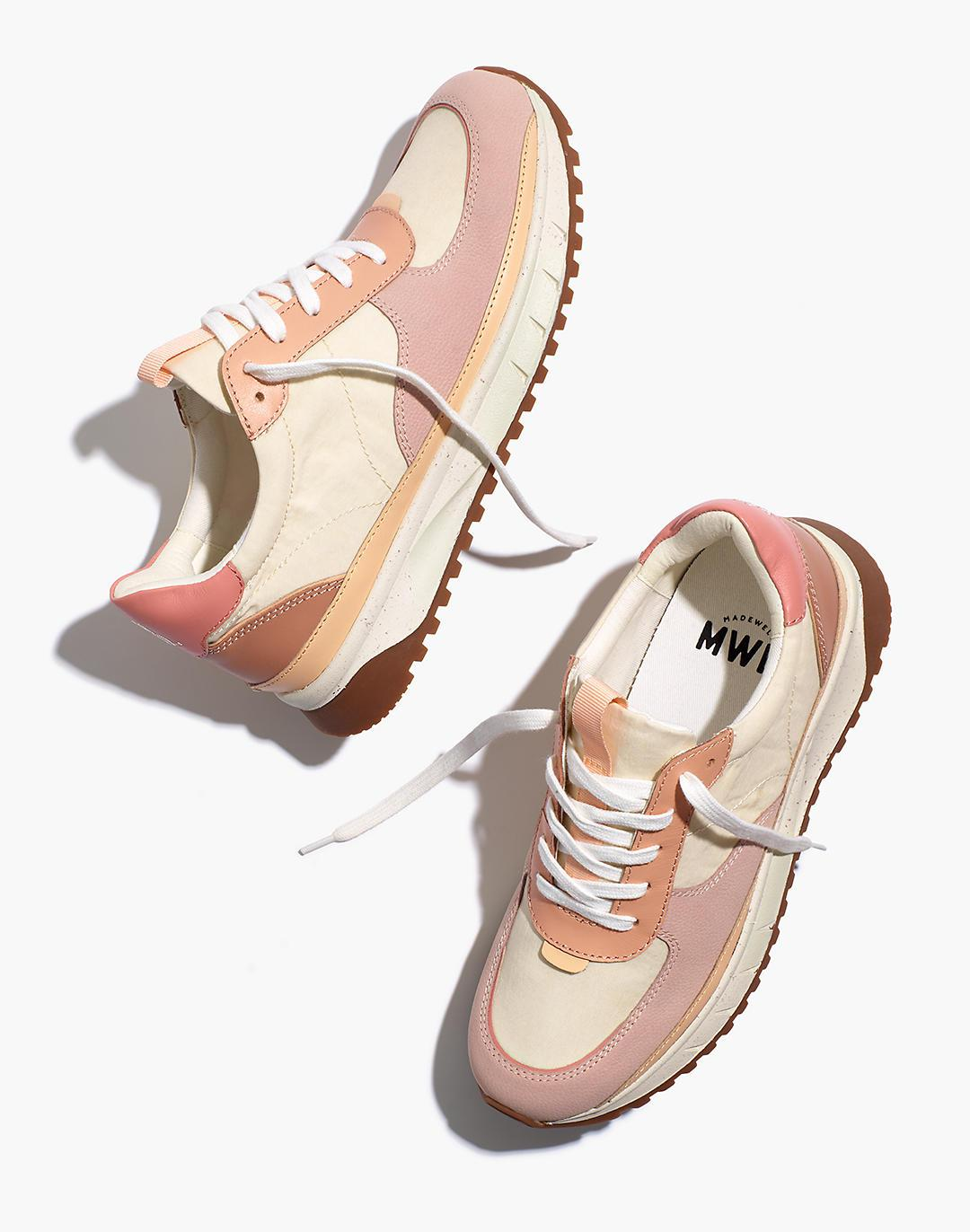 Kickoff Trainer Sneakers in Washed Nylon and Leather