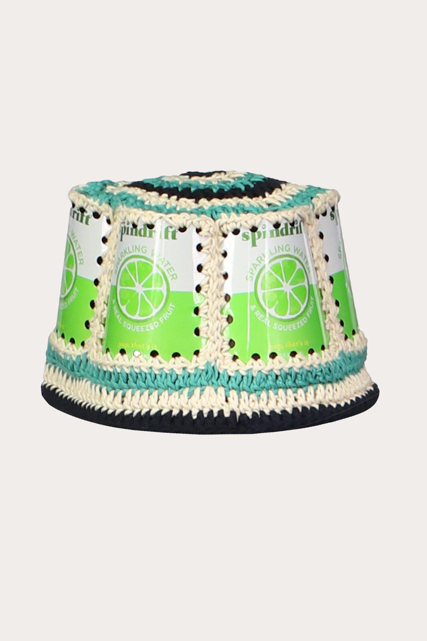 Recycled Crochet Hat in Lime