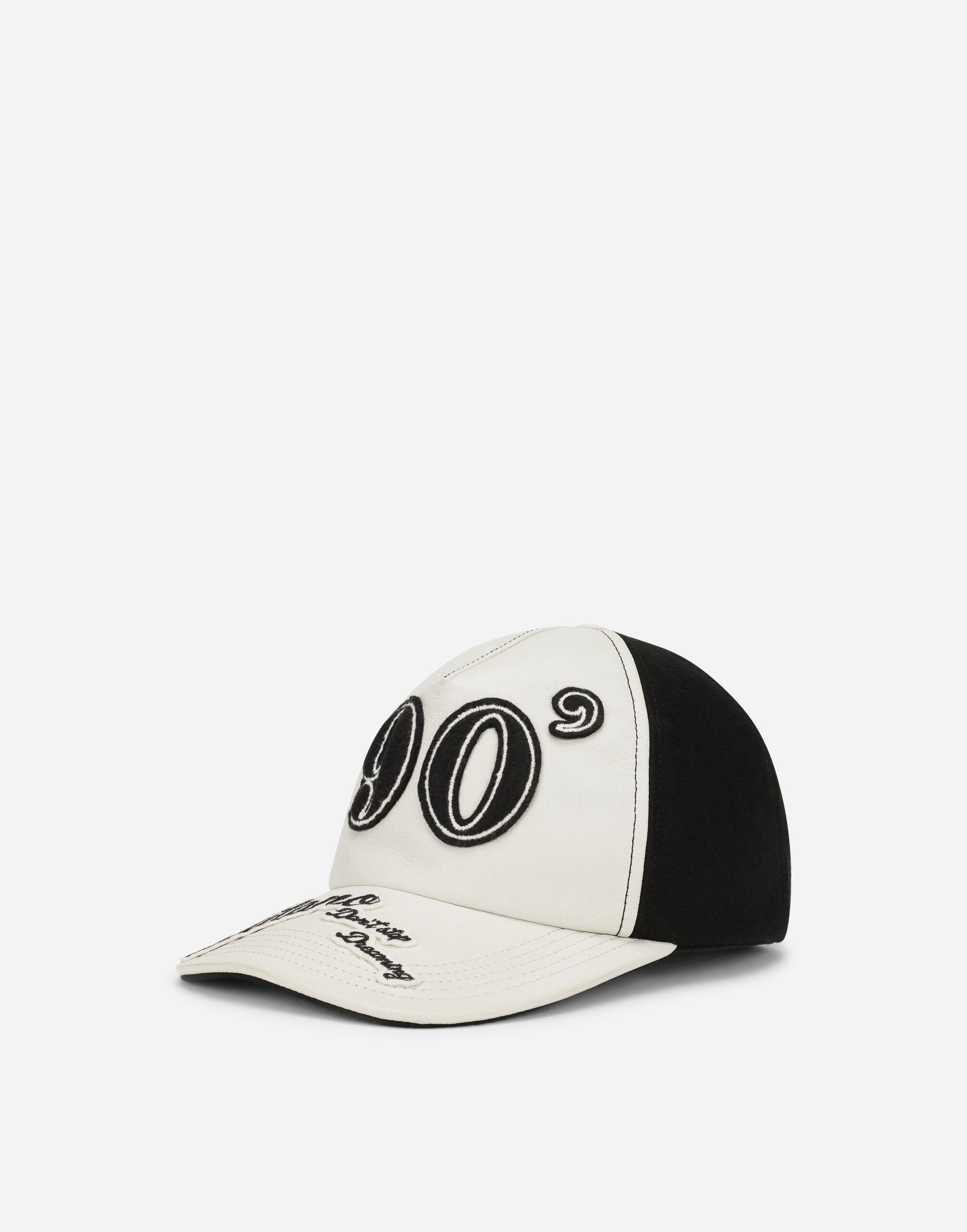 Baize and leather baseball cap with lettering