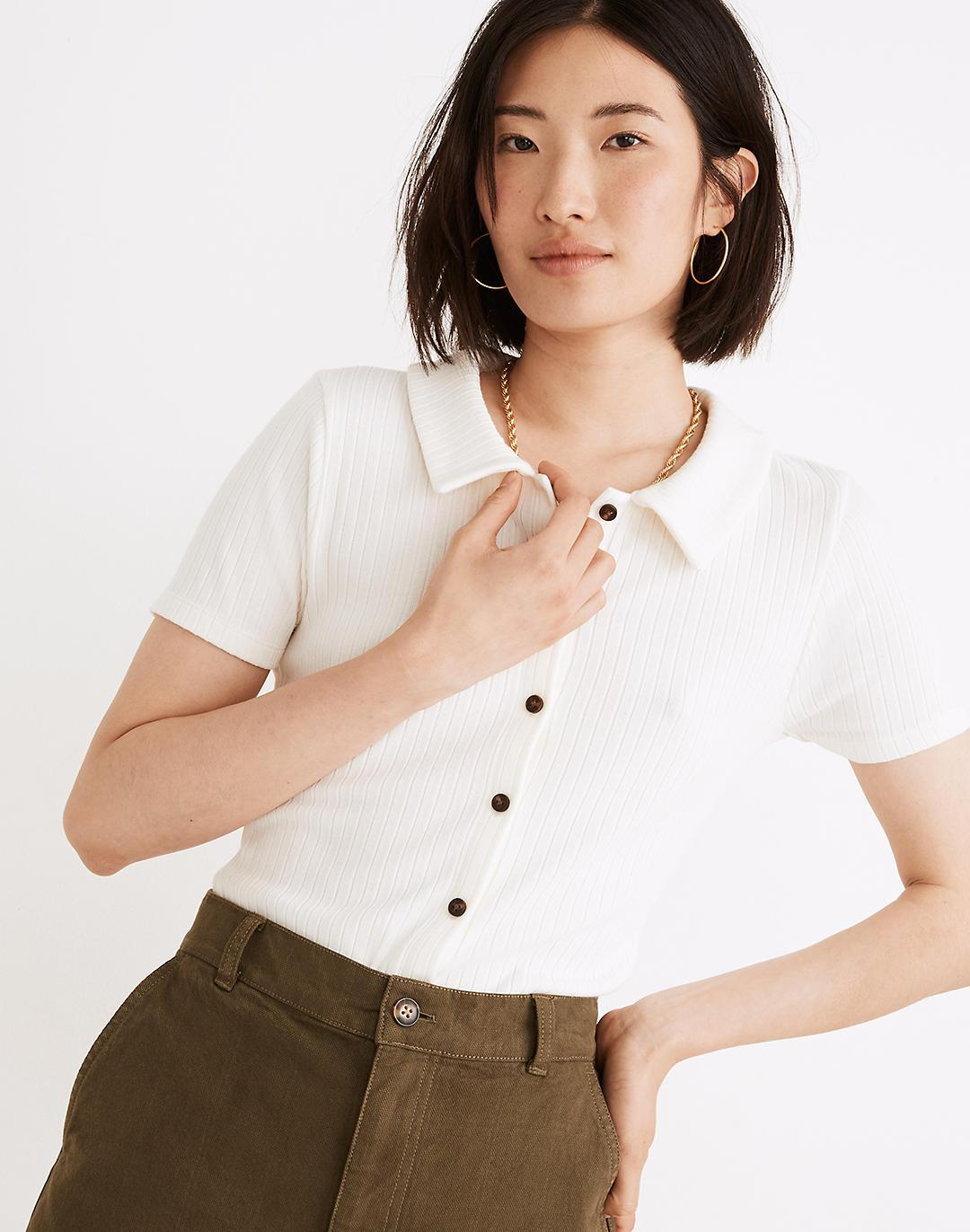Ribbed Polo Button-Front Tee