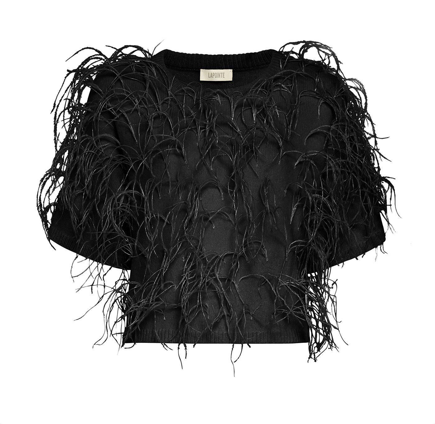 CASHMERE TEE WITH FEATHERS