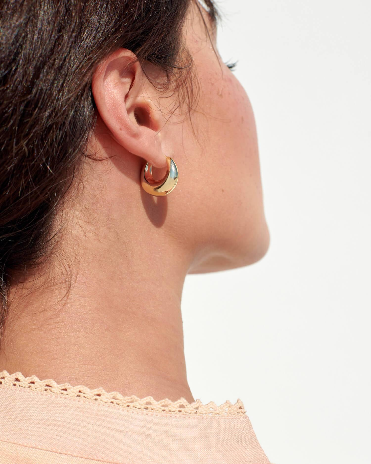 Alana Gold Large Dome Hoop Earring 2