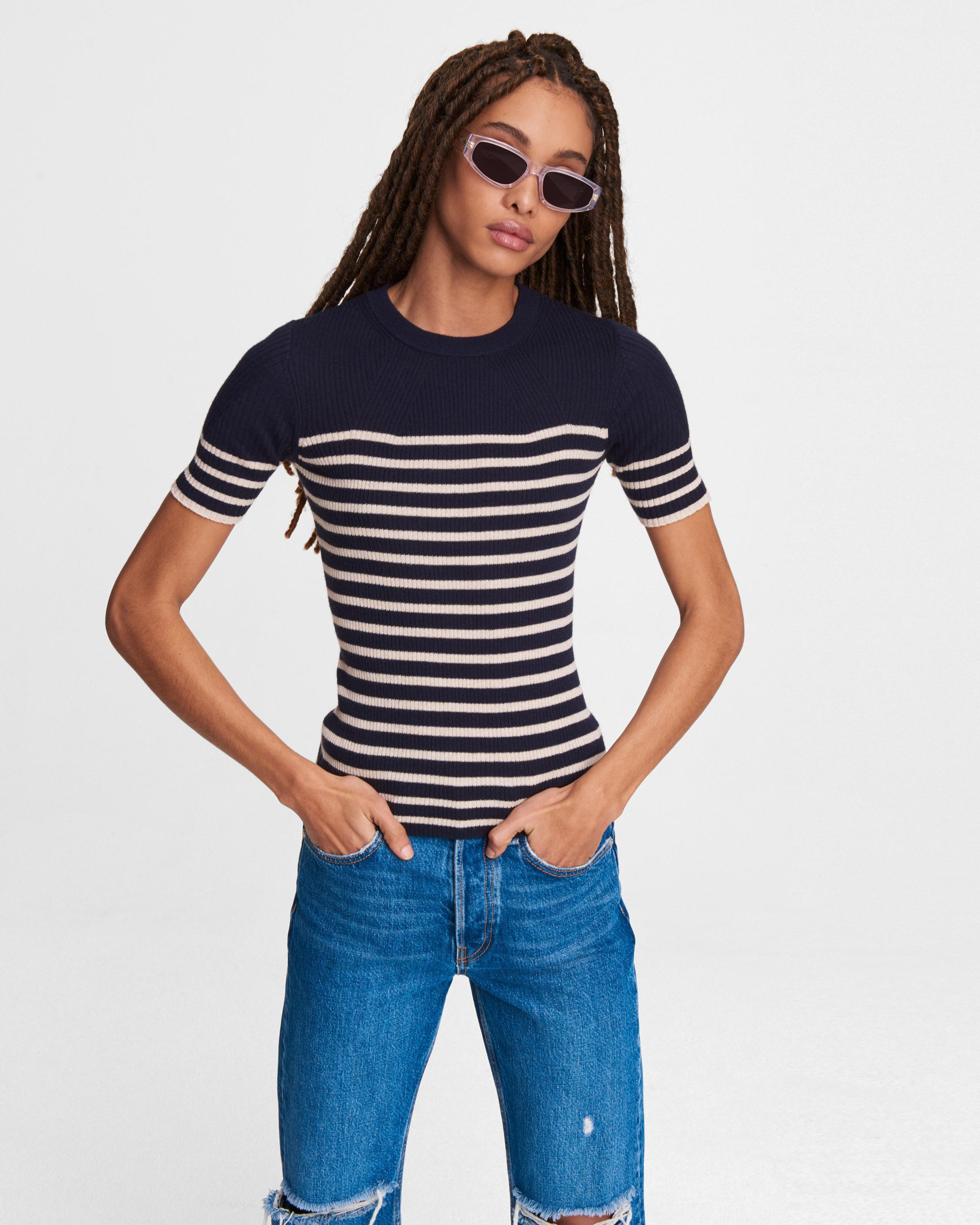 Kate striped cotton cashmere short sleeve