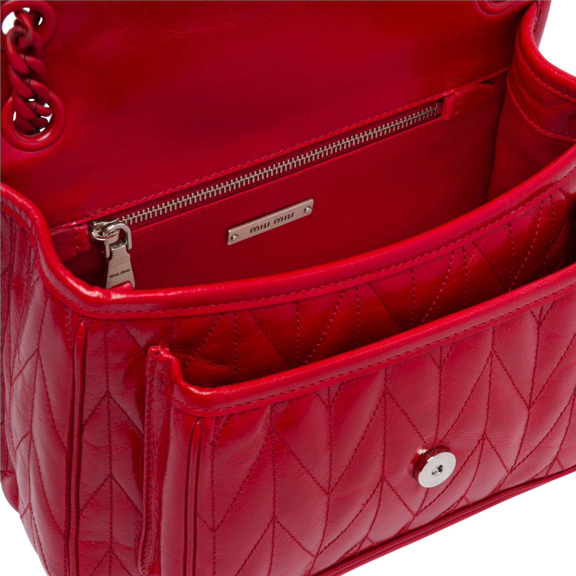 Quilted Shiny Leather Shoulder Bag Women Red 6
