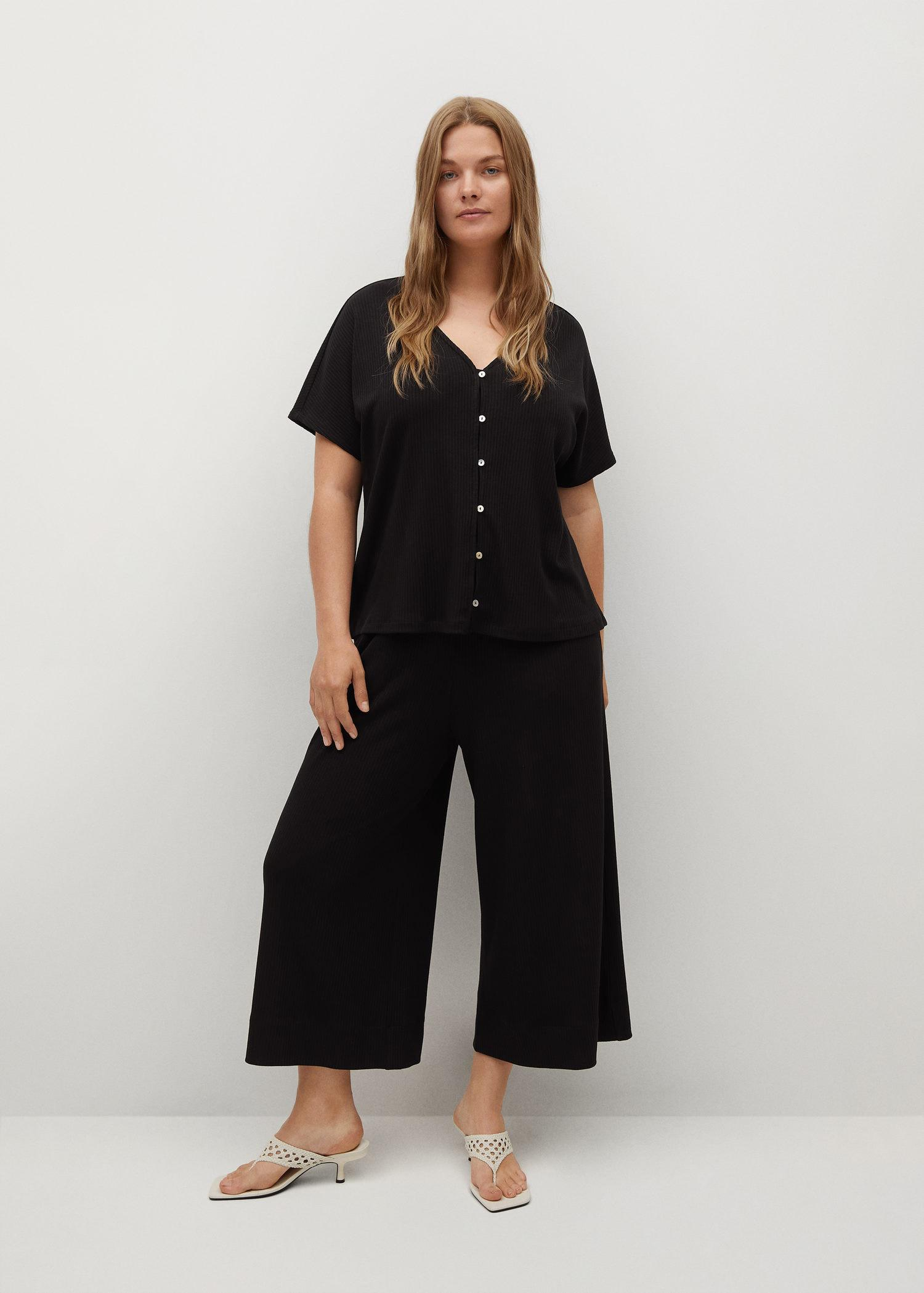 Ribbed culottes trousers