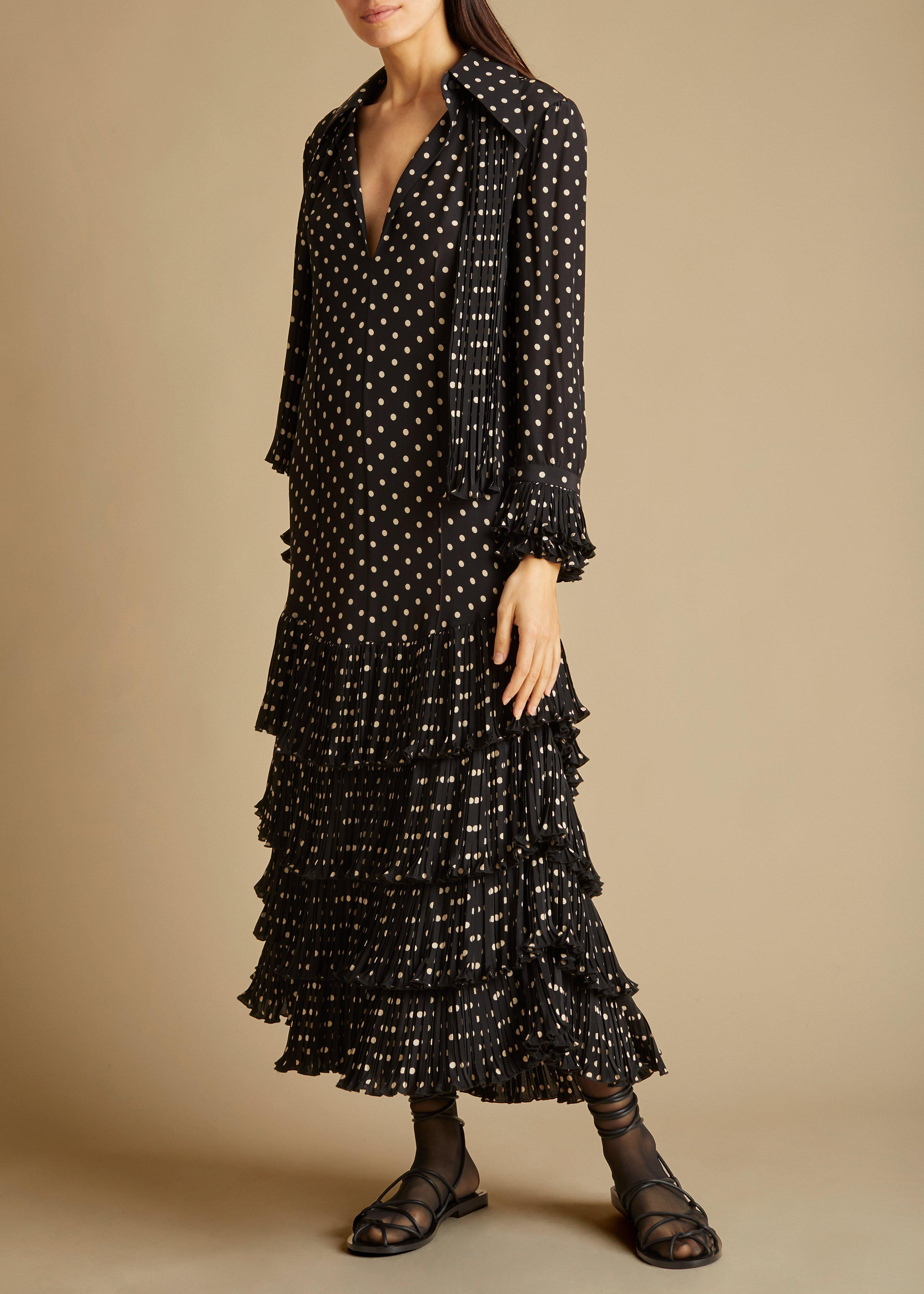 The Dolly Dress in Black and Creme Dot 0