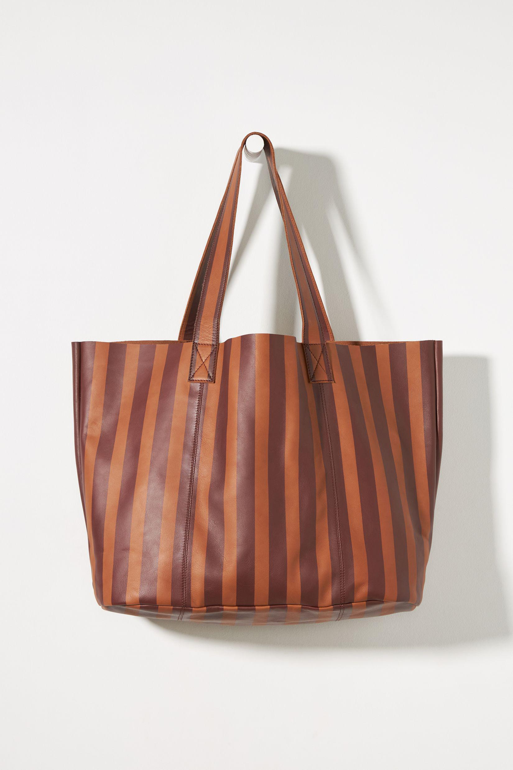 Striped Leather Tote Bag