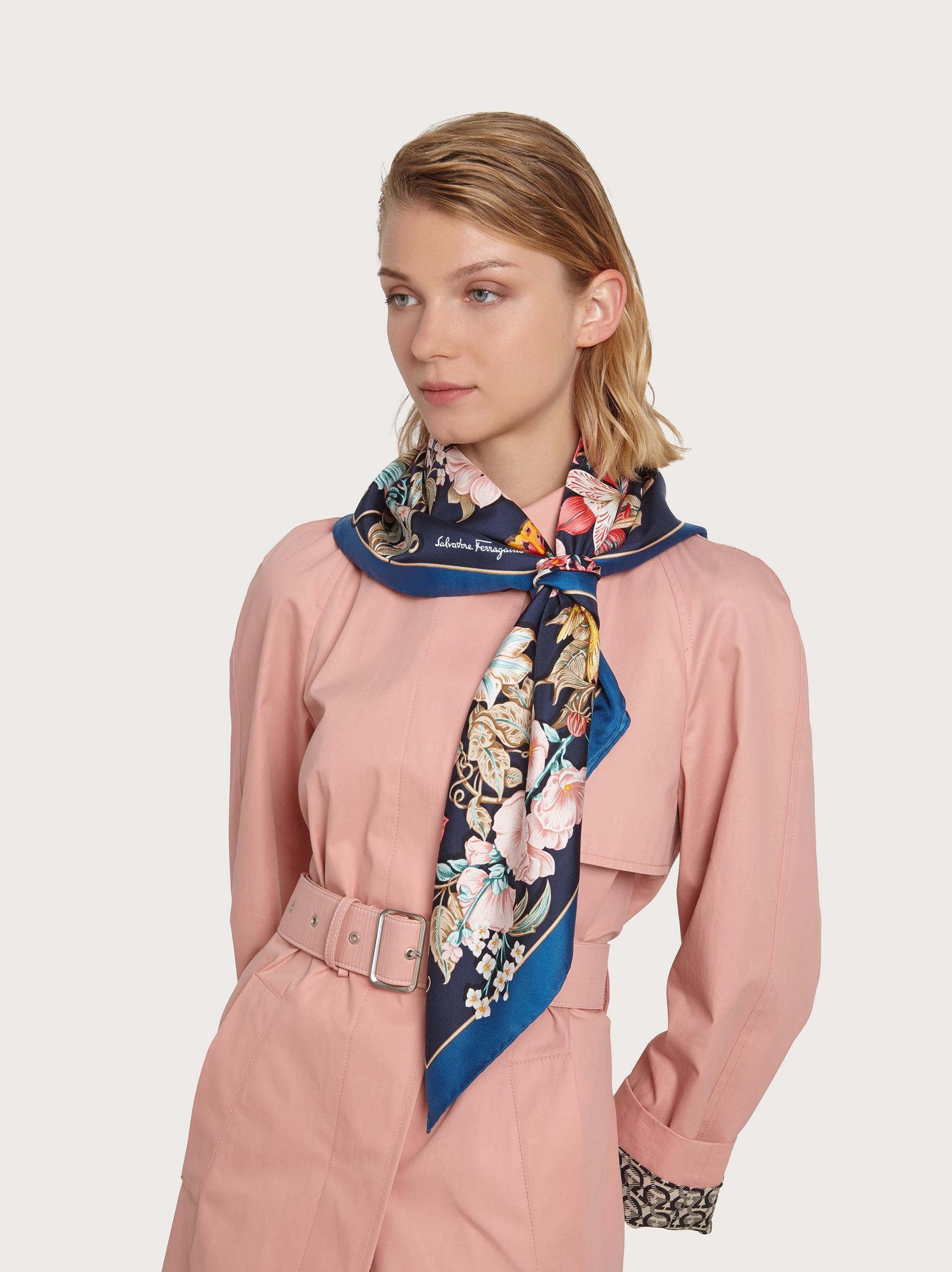 FLOWERS AND LETTERS PRINT SILK SCARF 2