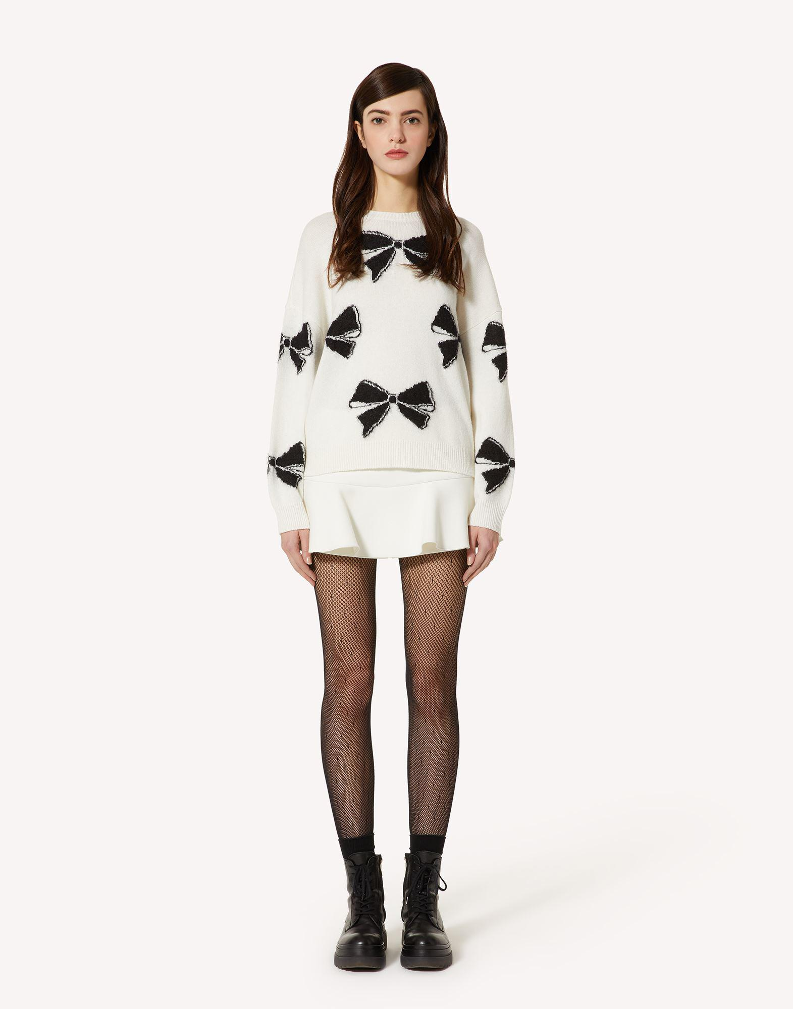 WOOL-BLEND SWEATER WITH BOWS MOTIF