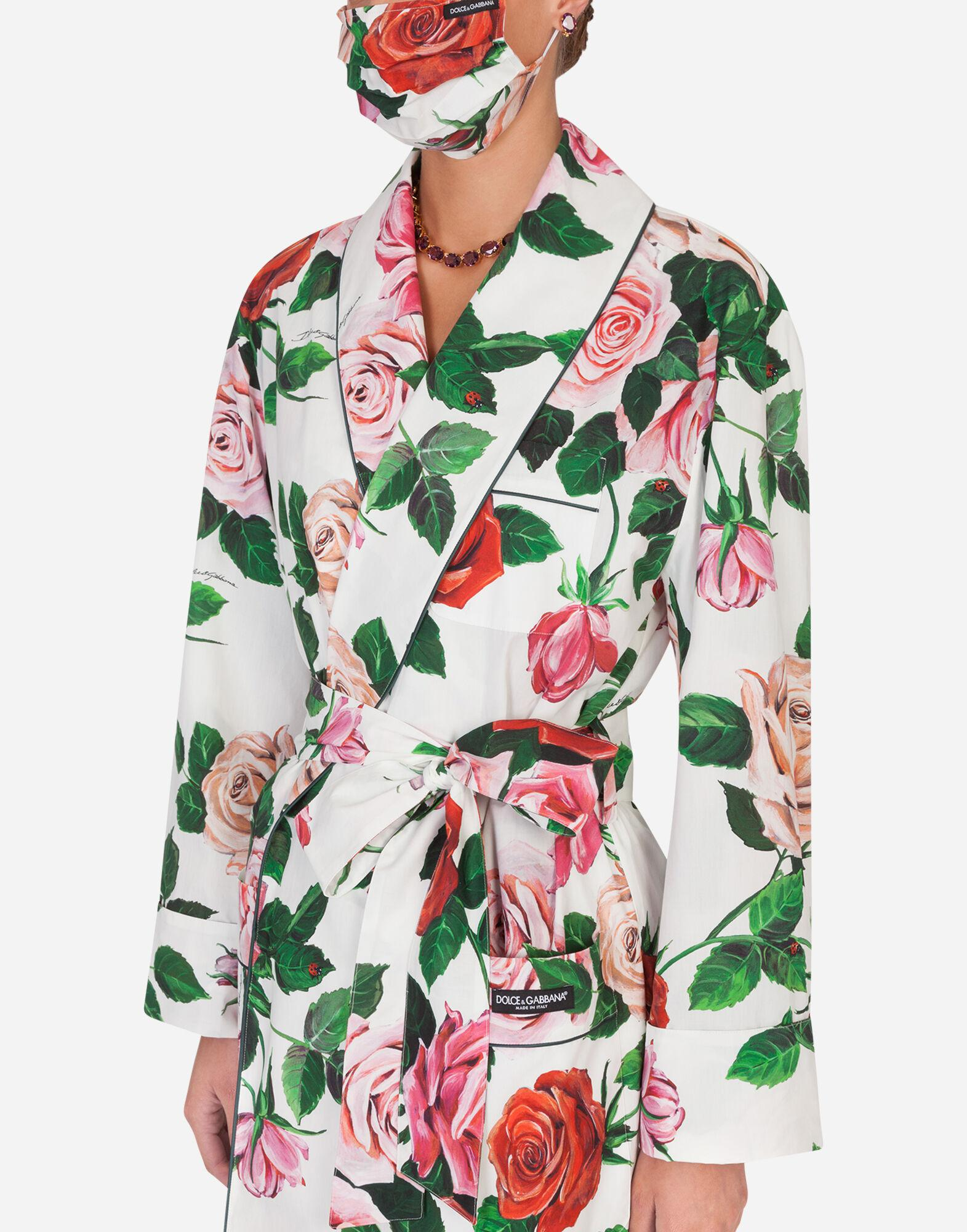 Rose-print robe with matching face mask 3