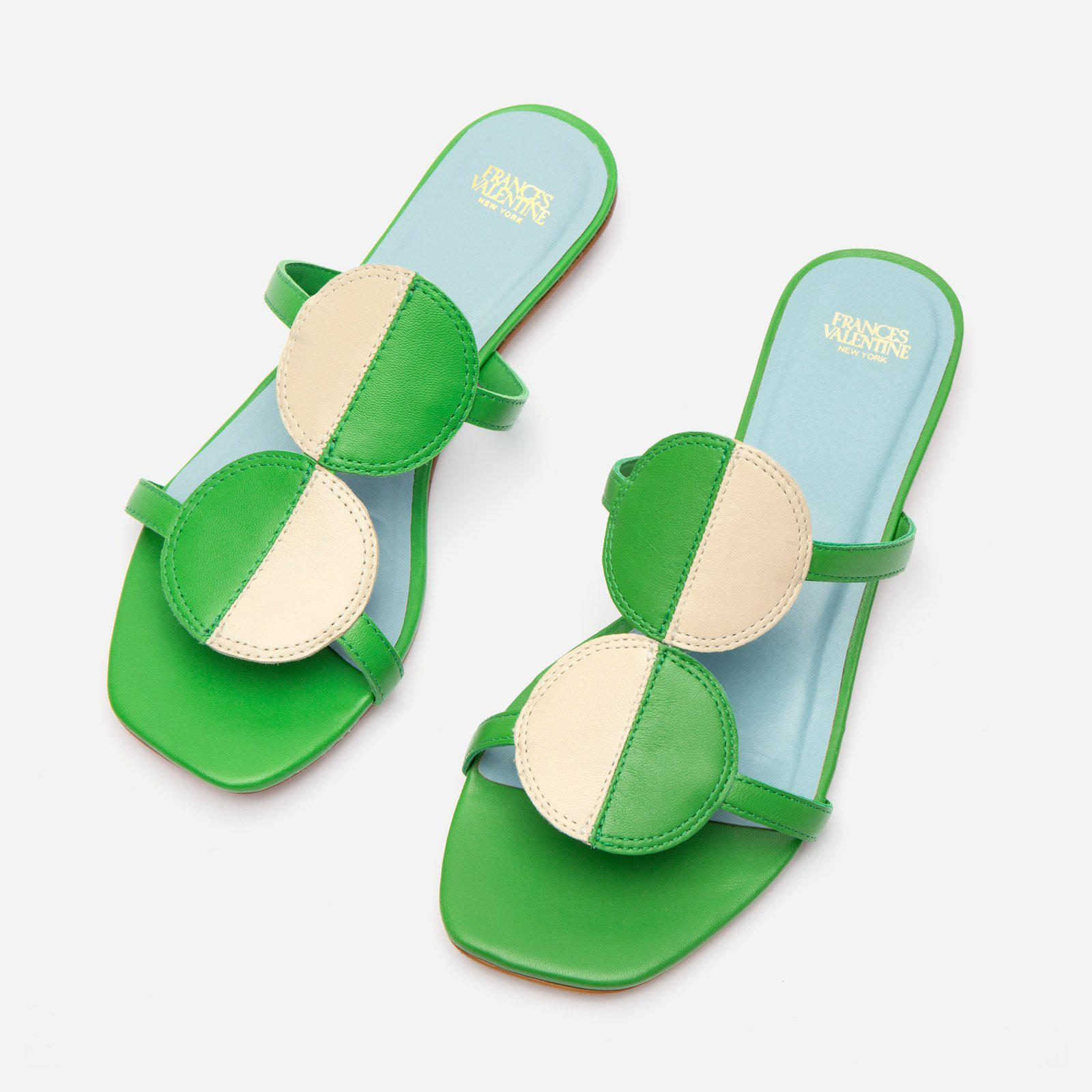 Double Circle Slide Colorblock Green Oyster