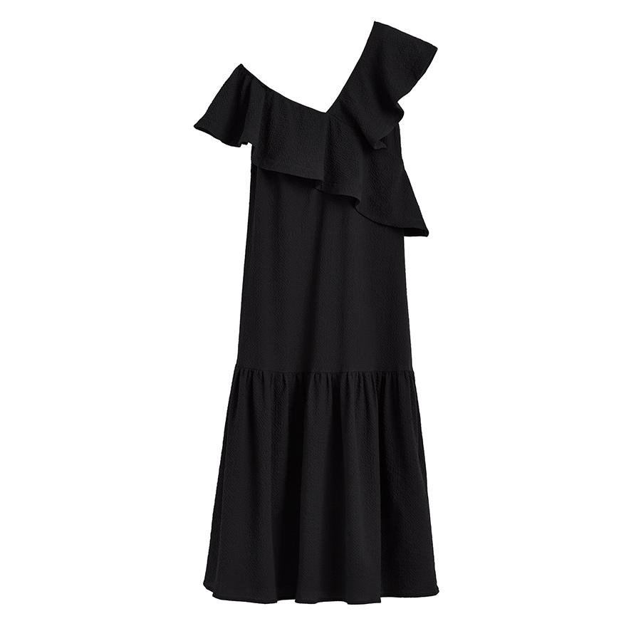 Women's Maxi Flounce Dress in Black | Size: XS | Textured Cotton by Cuyana