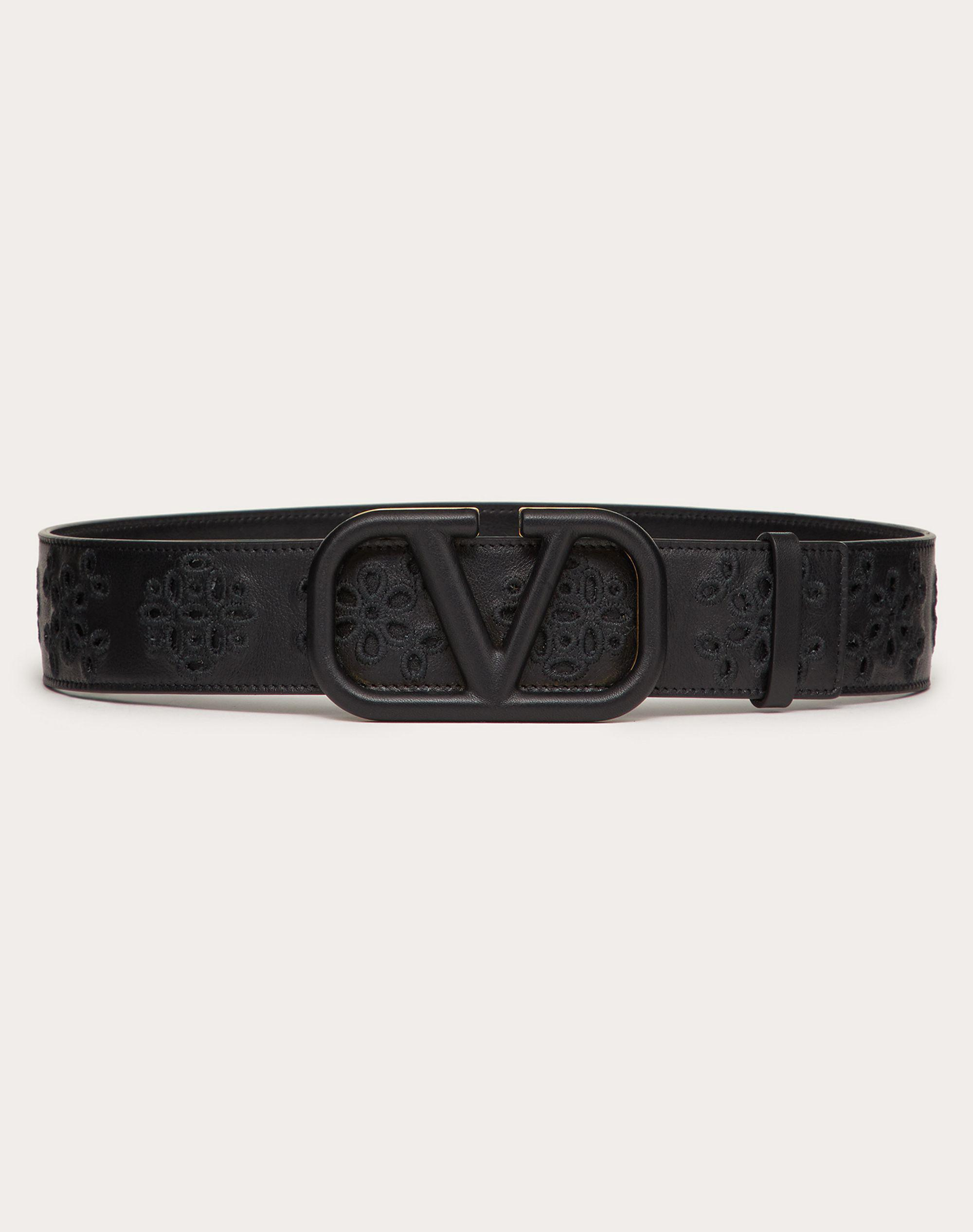 VLOGO SIGNATURE BELT IN CALFSKIN WITH SAN GALLO EMBROIDERY 40 MM