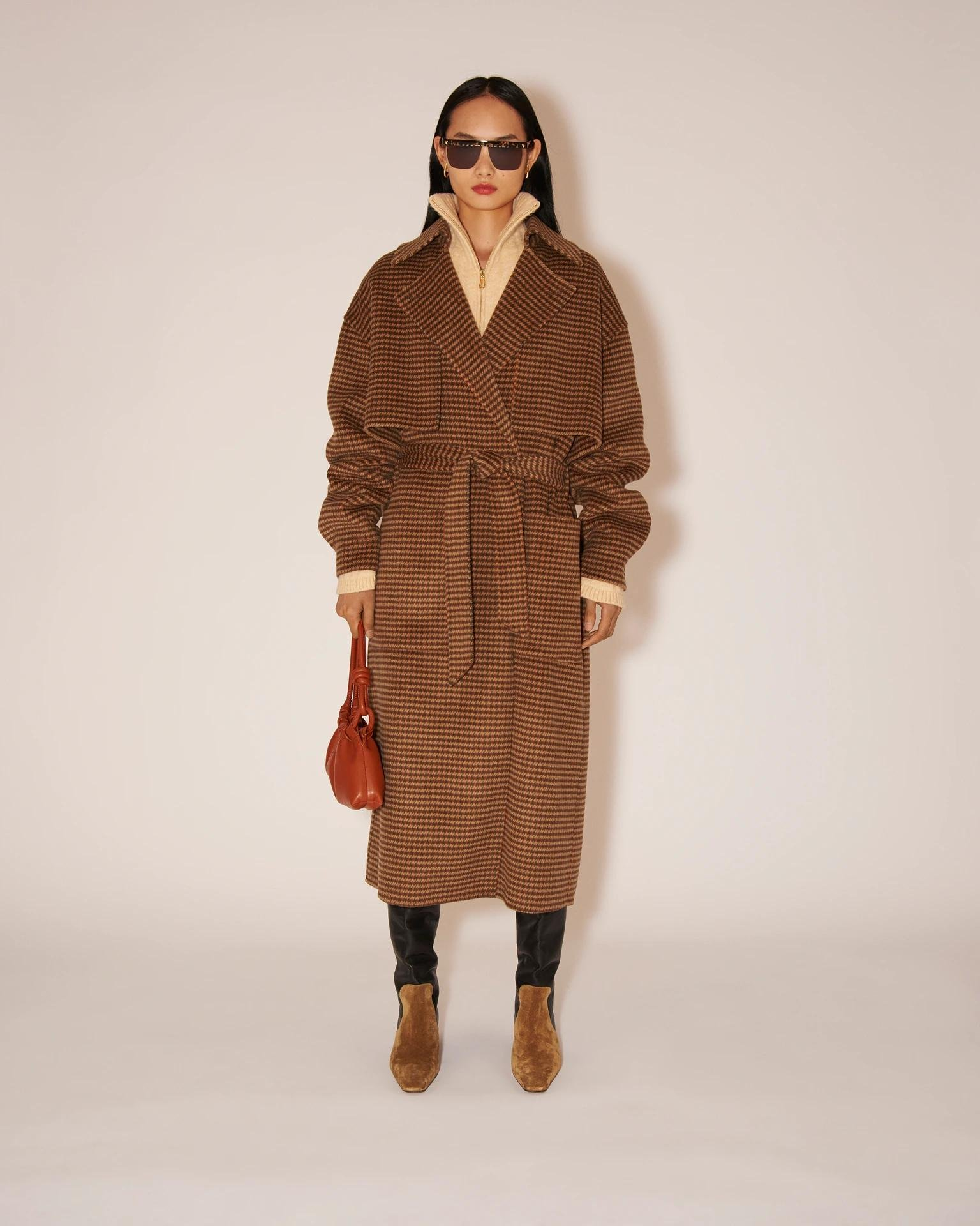 ARA - Checked wool and silk-blend trench coat - Rust gray