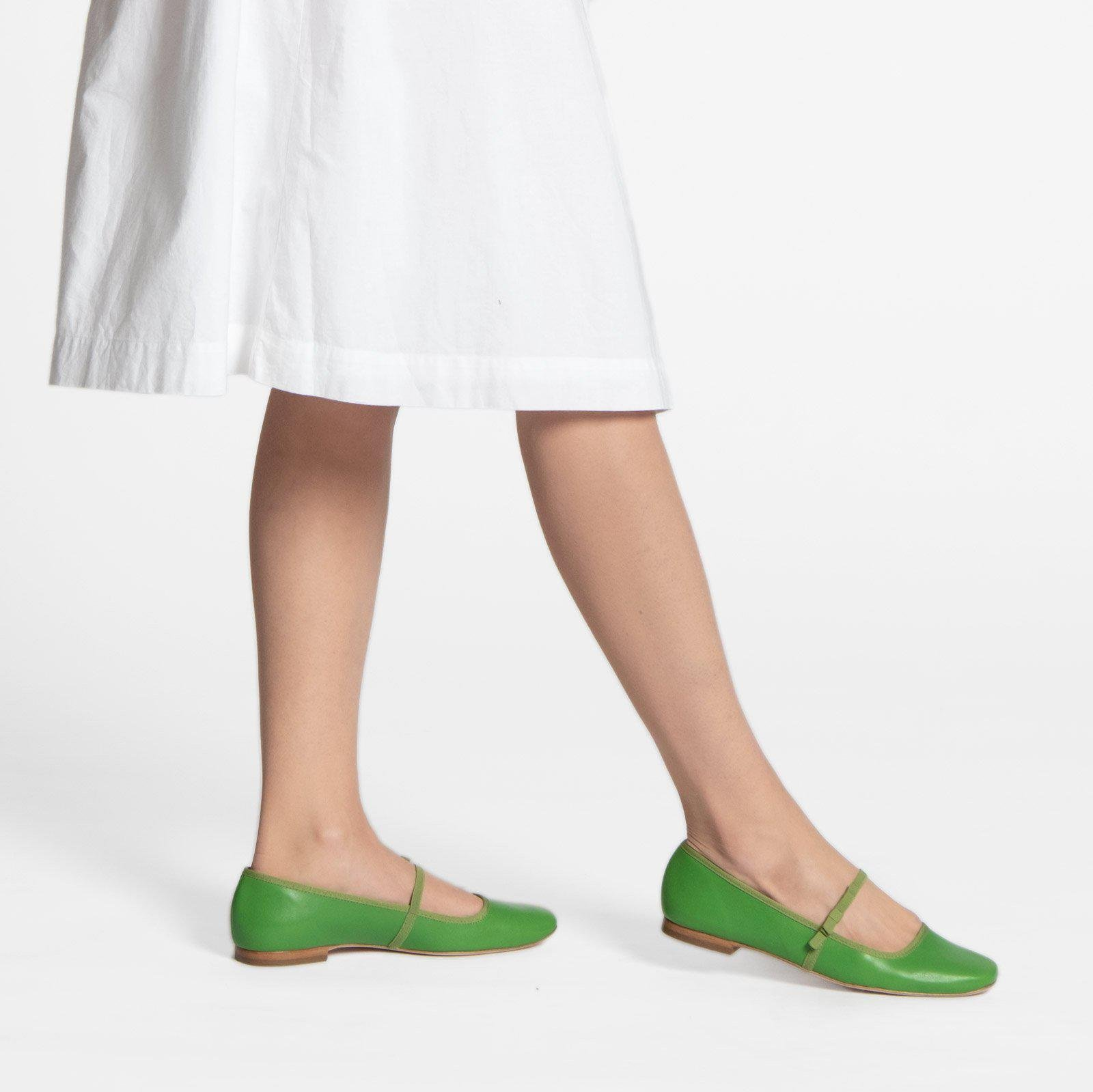Jude Mary Jane Leather Flat Green 4