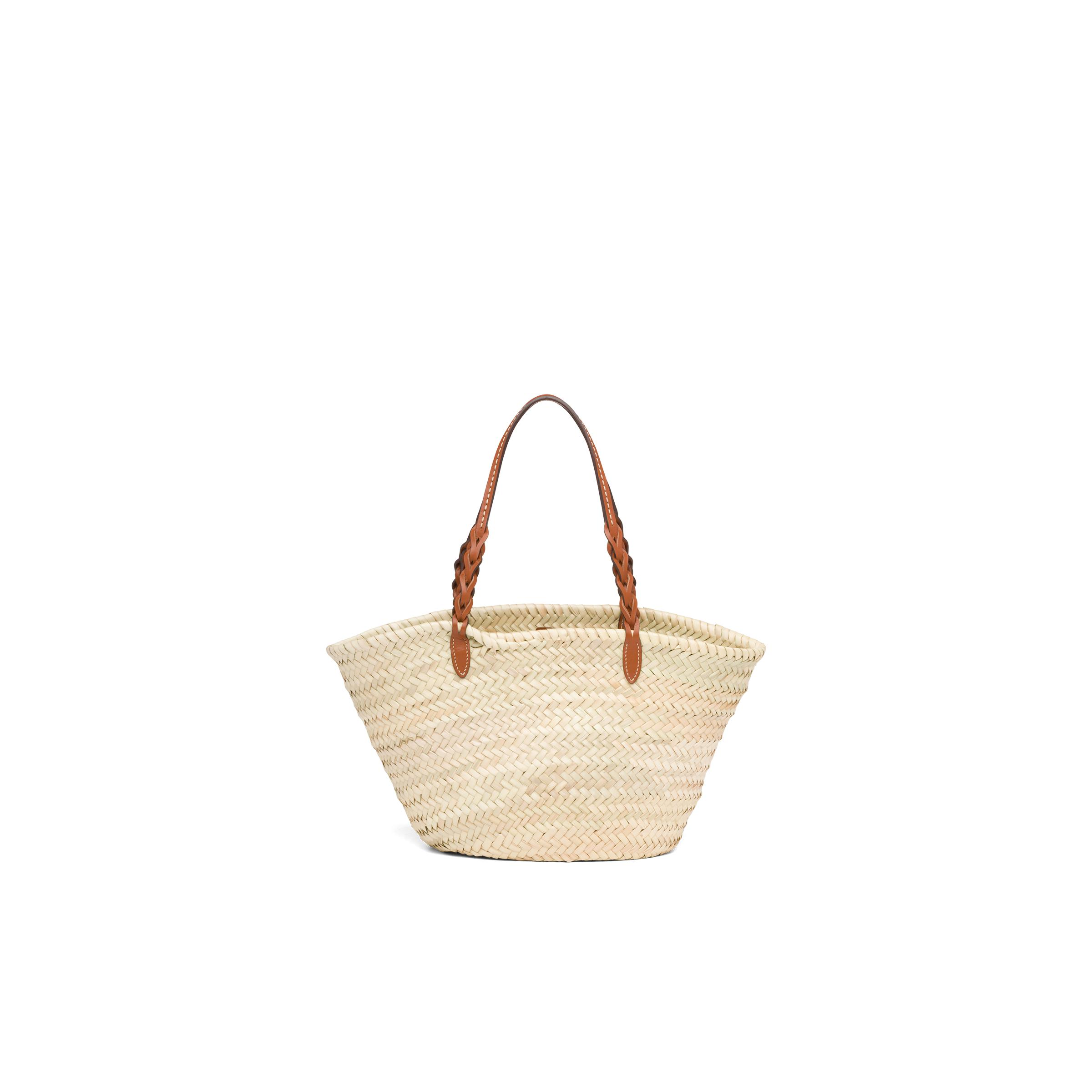 Woven Palm And Leather Tote Women Beige/cognac 3