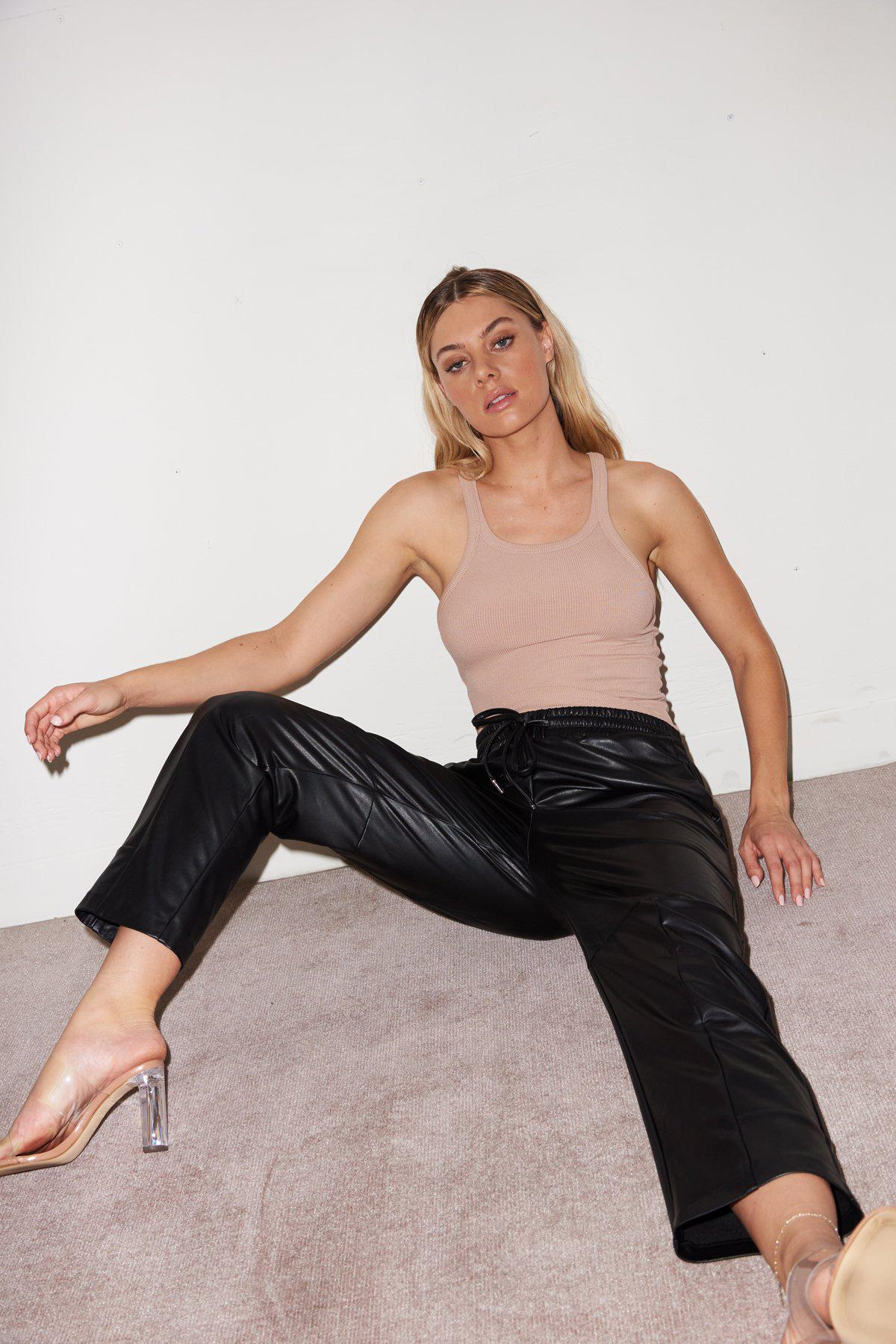 Faux Leather Pull On Pant - Black