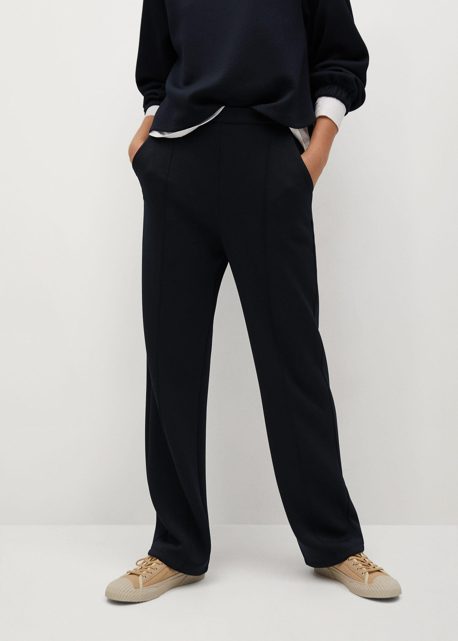 Pleat straight trousers