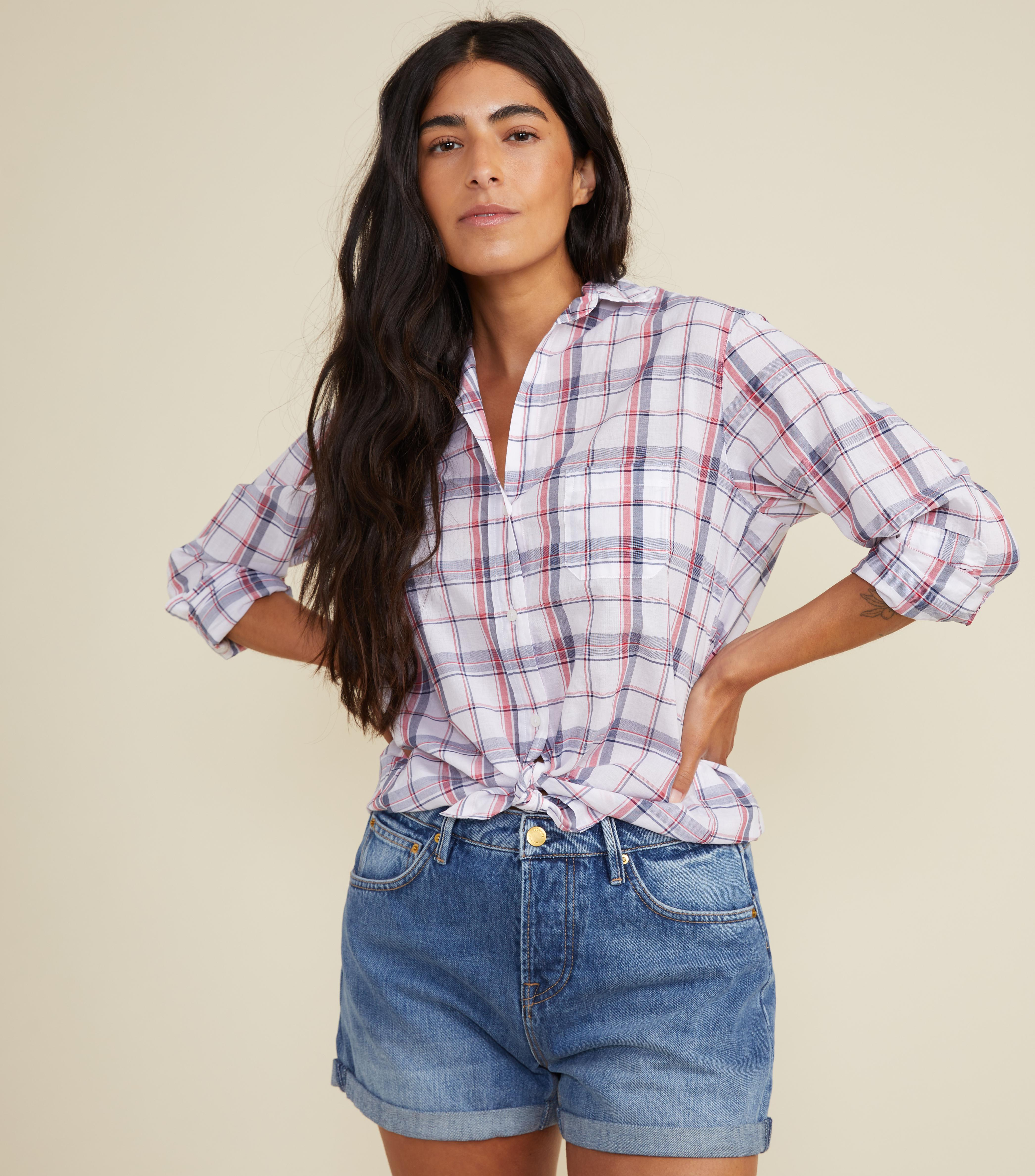The Hero White with Navy and Red Plaid, Tissue Cotton Sale