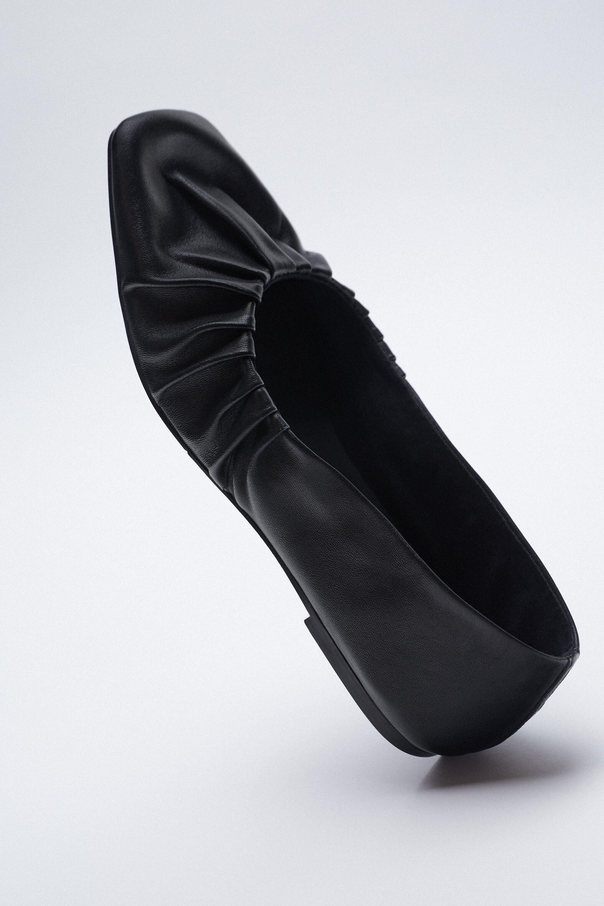 RUCHED LEATHER BALLET FLATS 2