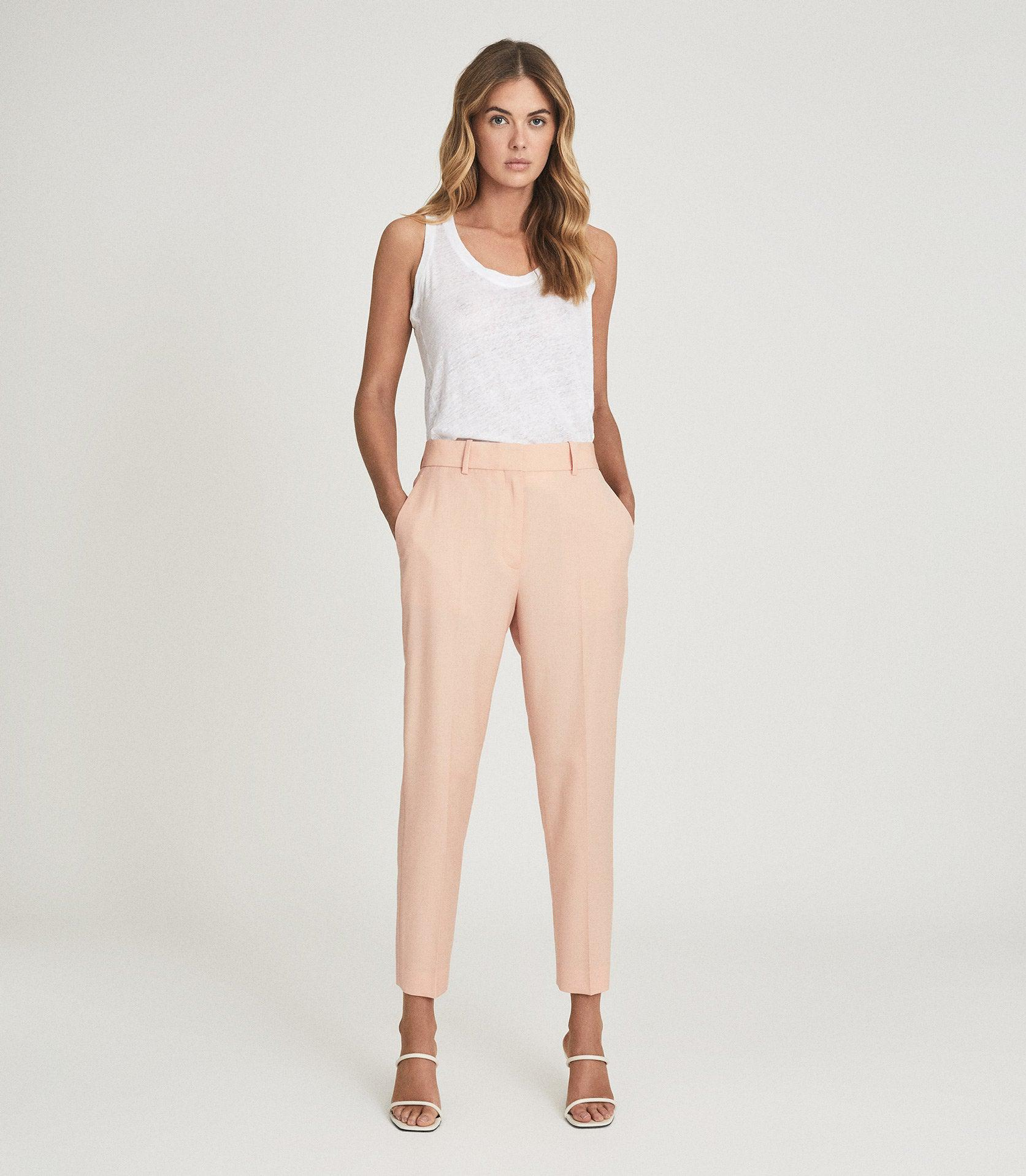 EVELYN - WOOL LINEN BLEND SLIM FIT TROUSERS 1