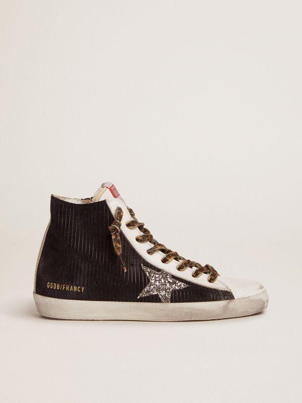 Francy sneakers in black suede with corduroy print and shearling lining