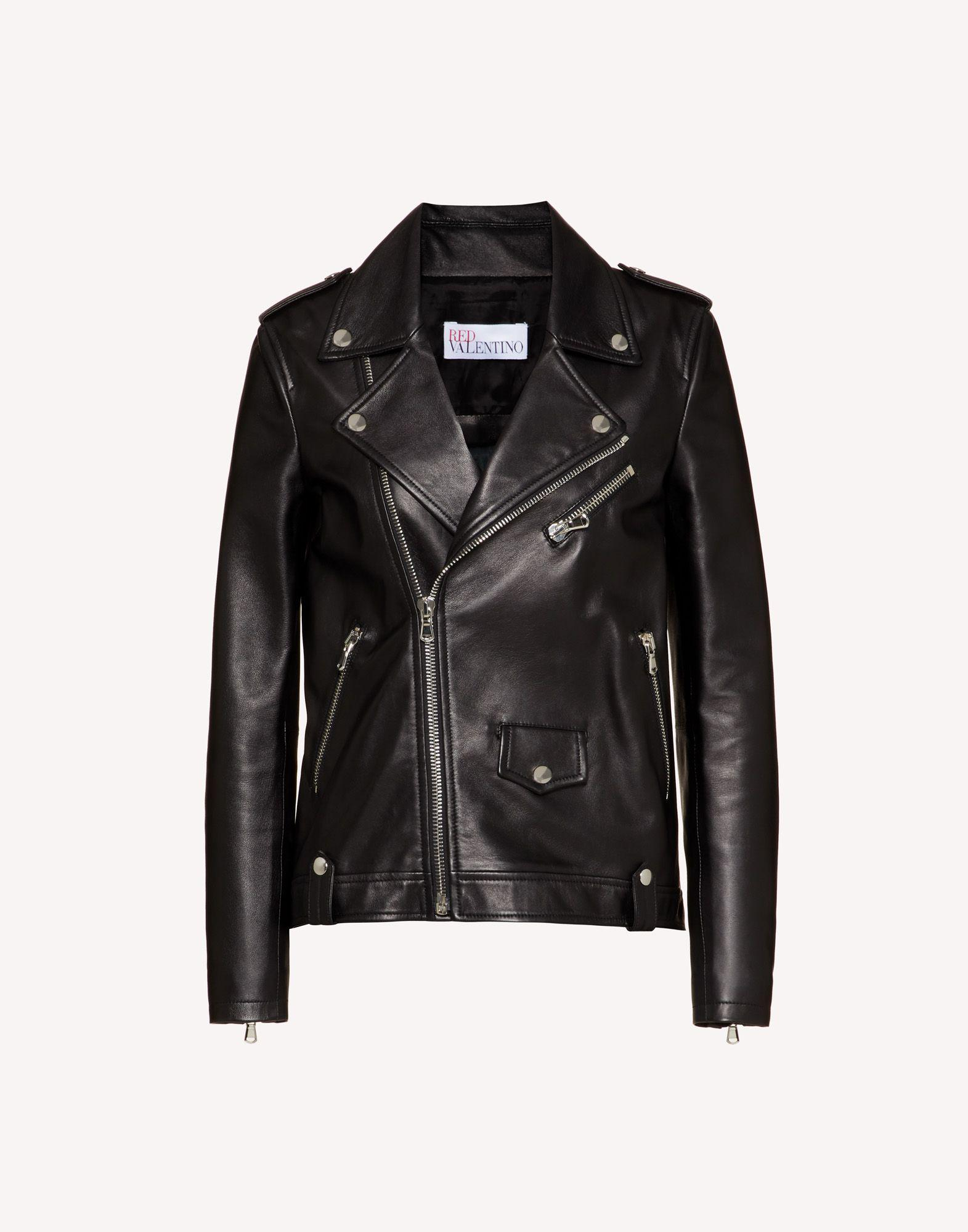 LEATHER BIKER JACKET WITH PLEATED DETAIL 4