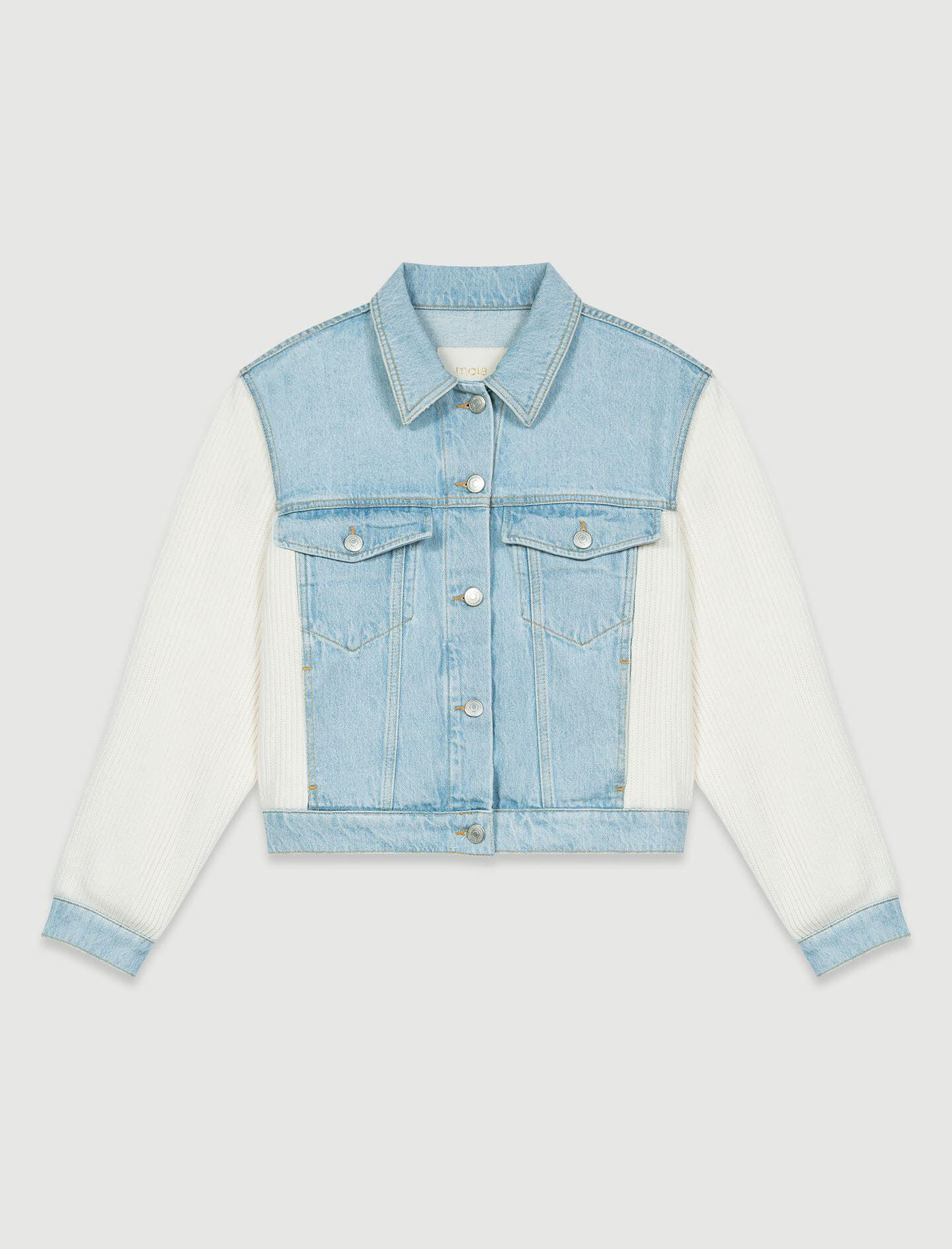 MIXED MATERIAL KNIT AND DENIM JACKET 5