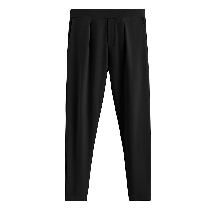 Women's French Terry Pleated Front Pant in Black | Size: