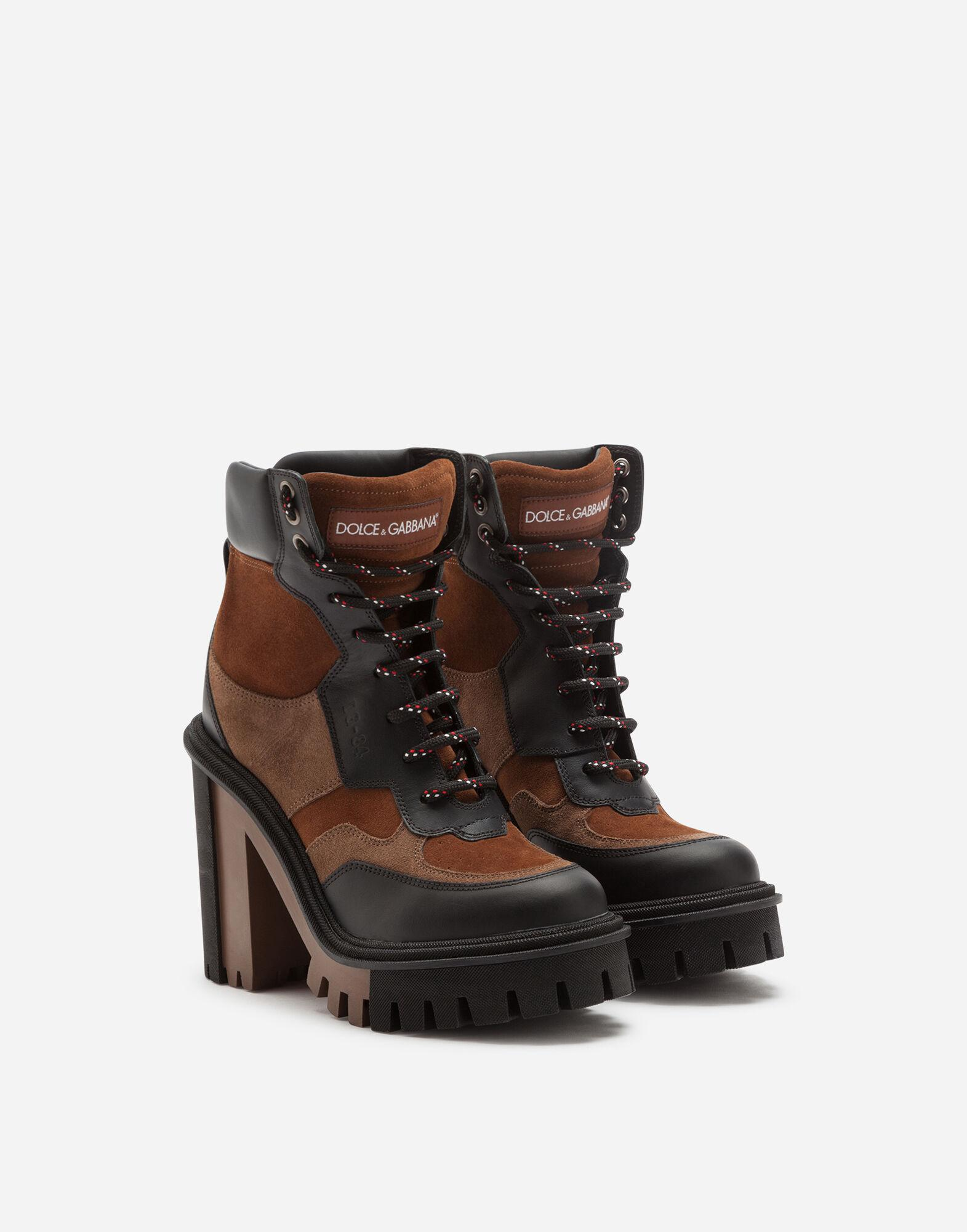 Trekking boots in two-tone mixed materials 1
