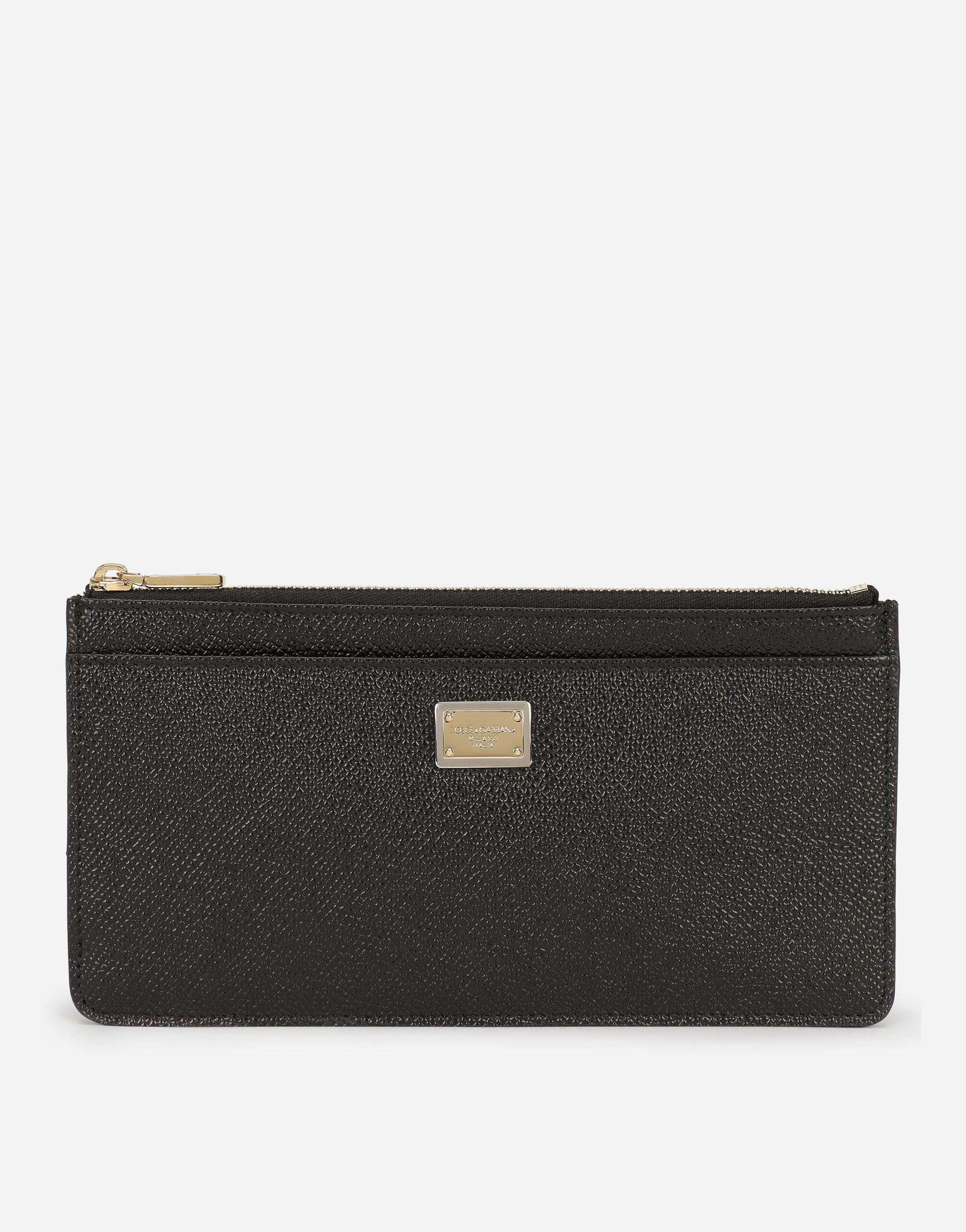 Large dauphine calfskin card holder with plate