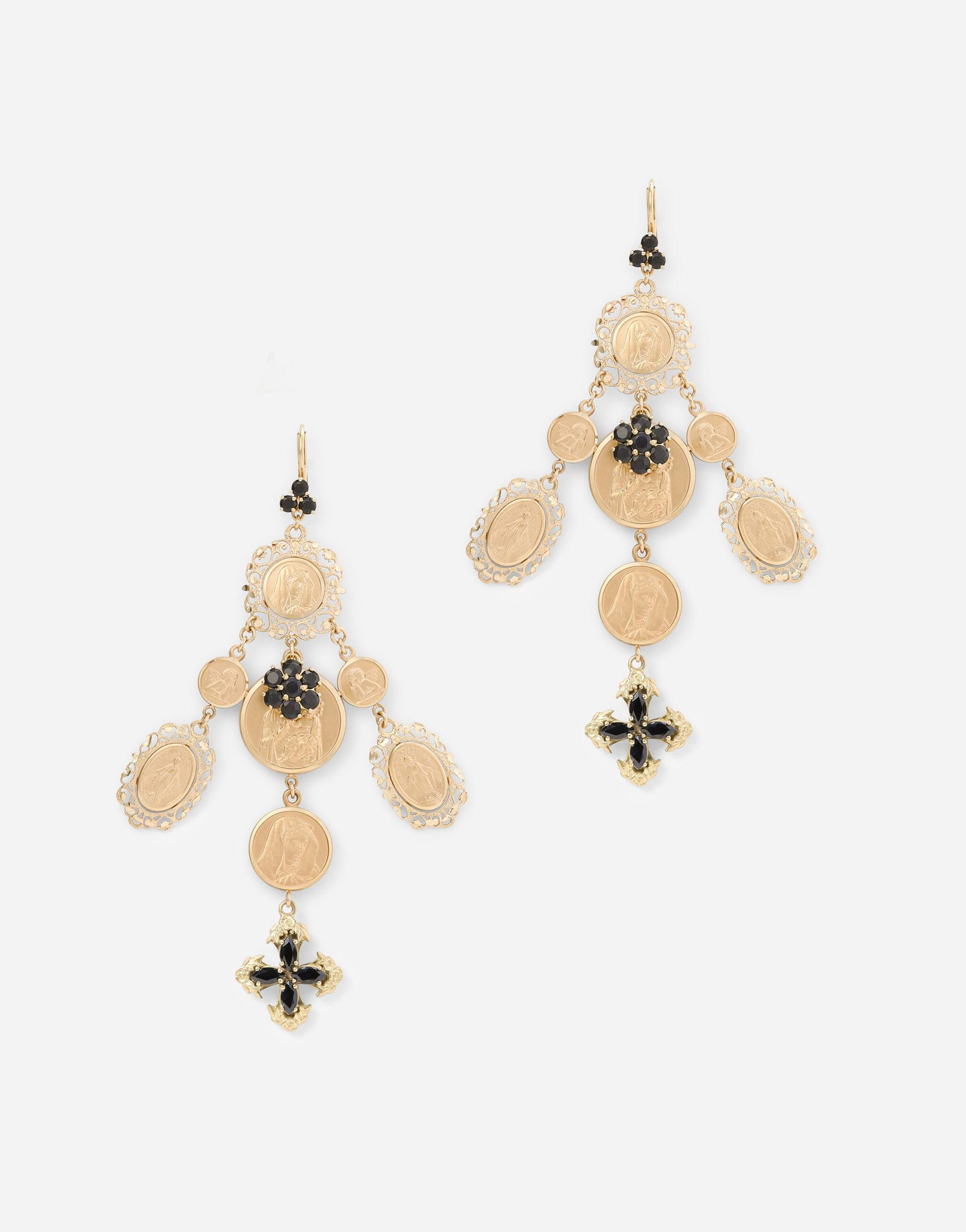 Yellow gold Sicily earrings with medals and cross pendants