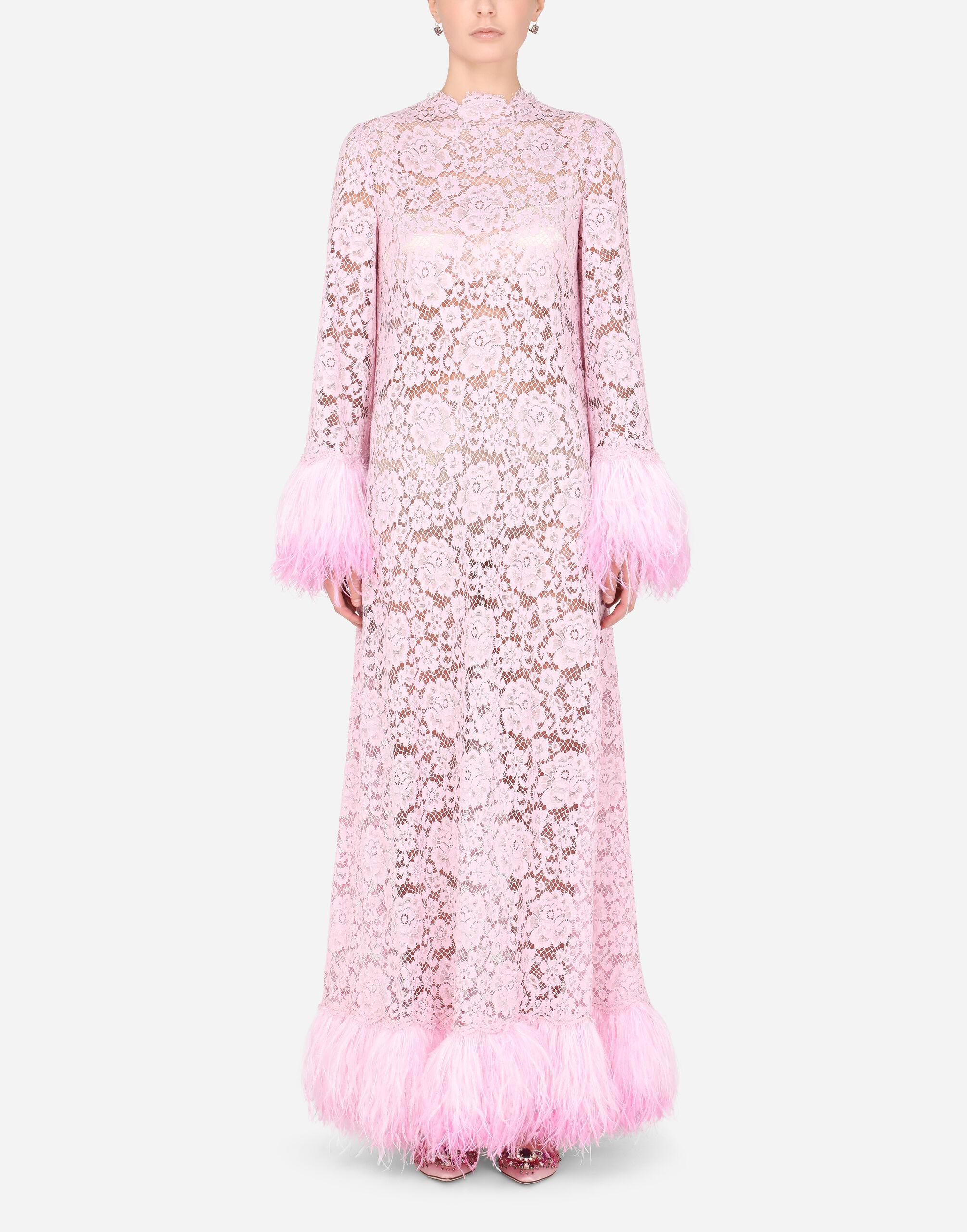 Lace caftan with marabou trim