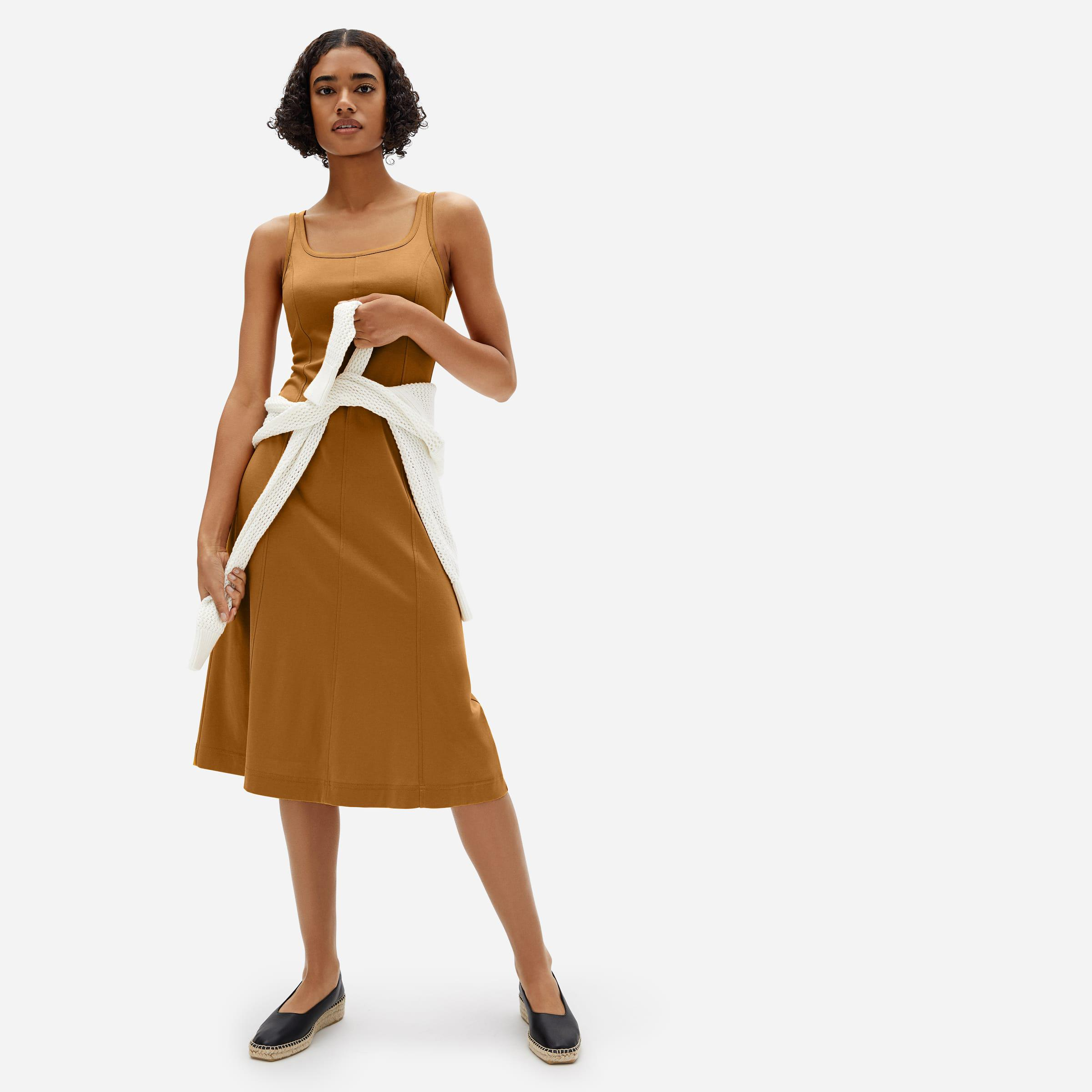 The Luxe Cotton Seamed Tank Dress