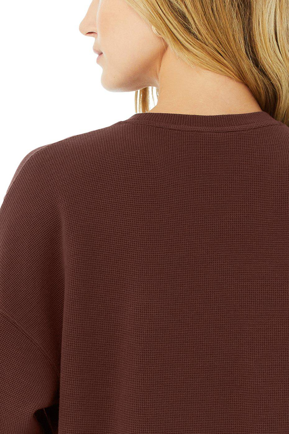 Micro Waffle Relaxation Pullover - Cherry Cola 10