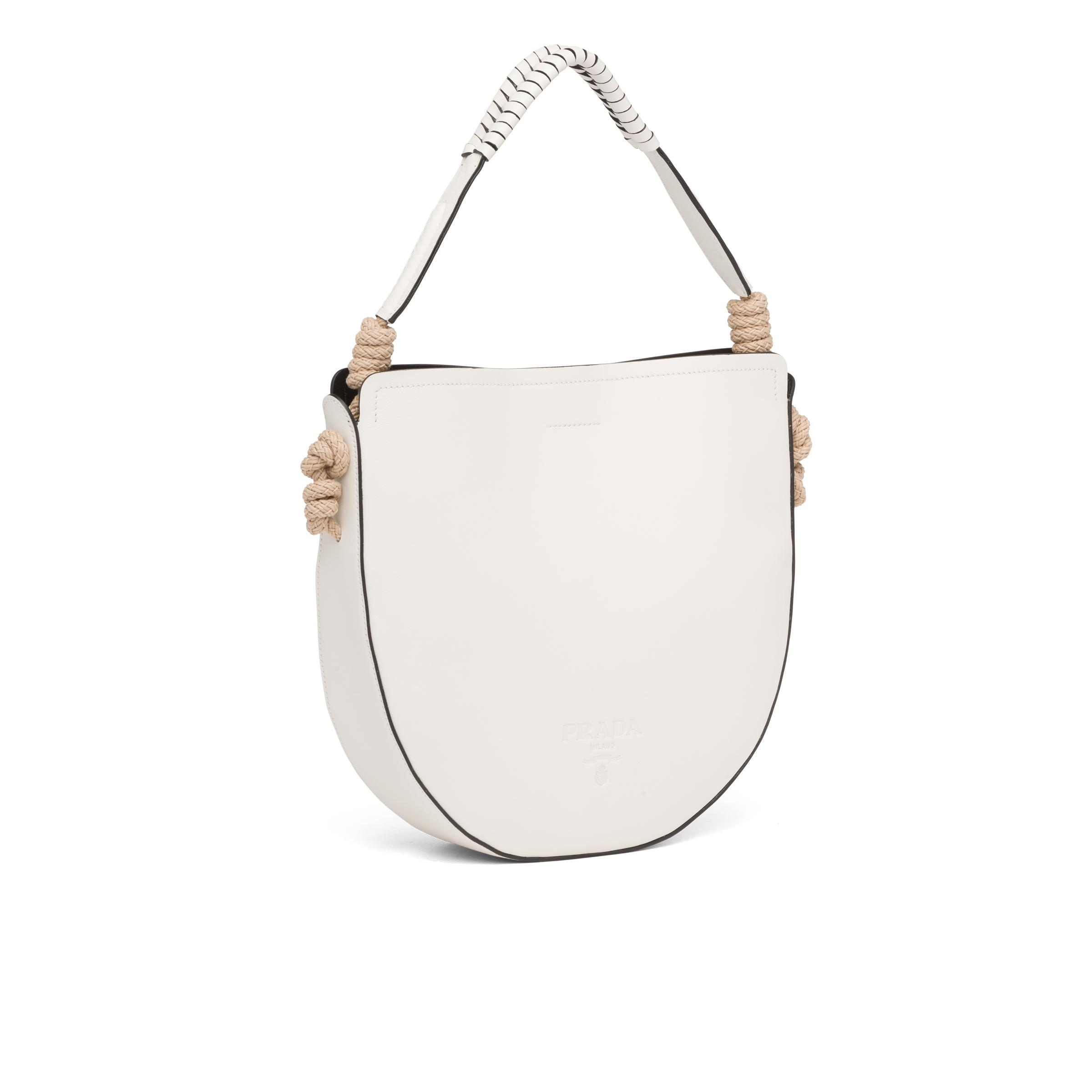 Leather Bag With Cord Details Women White/black 2
