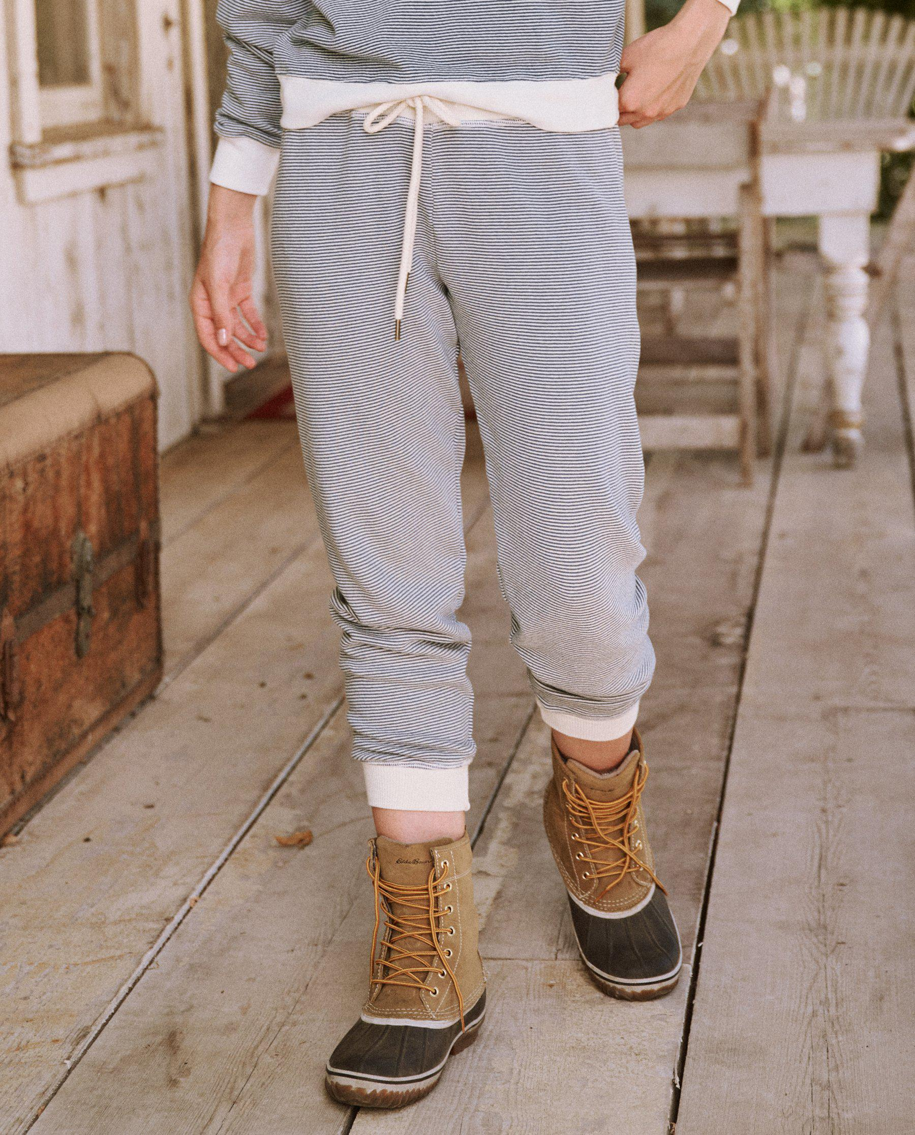 The Cropped Sweatpant. Novelty -- Salt Water Stripe