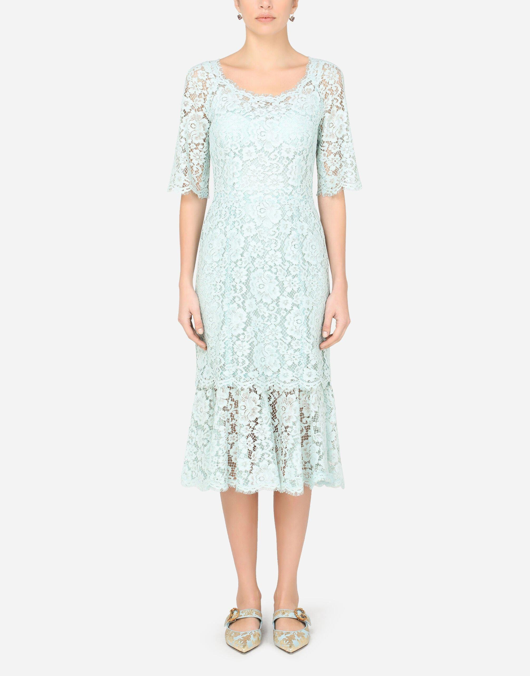Lace calf-length dress with ruffle detailing
