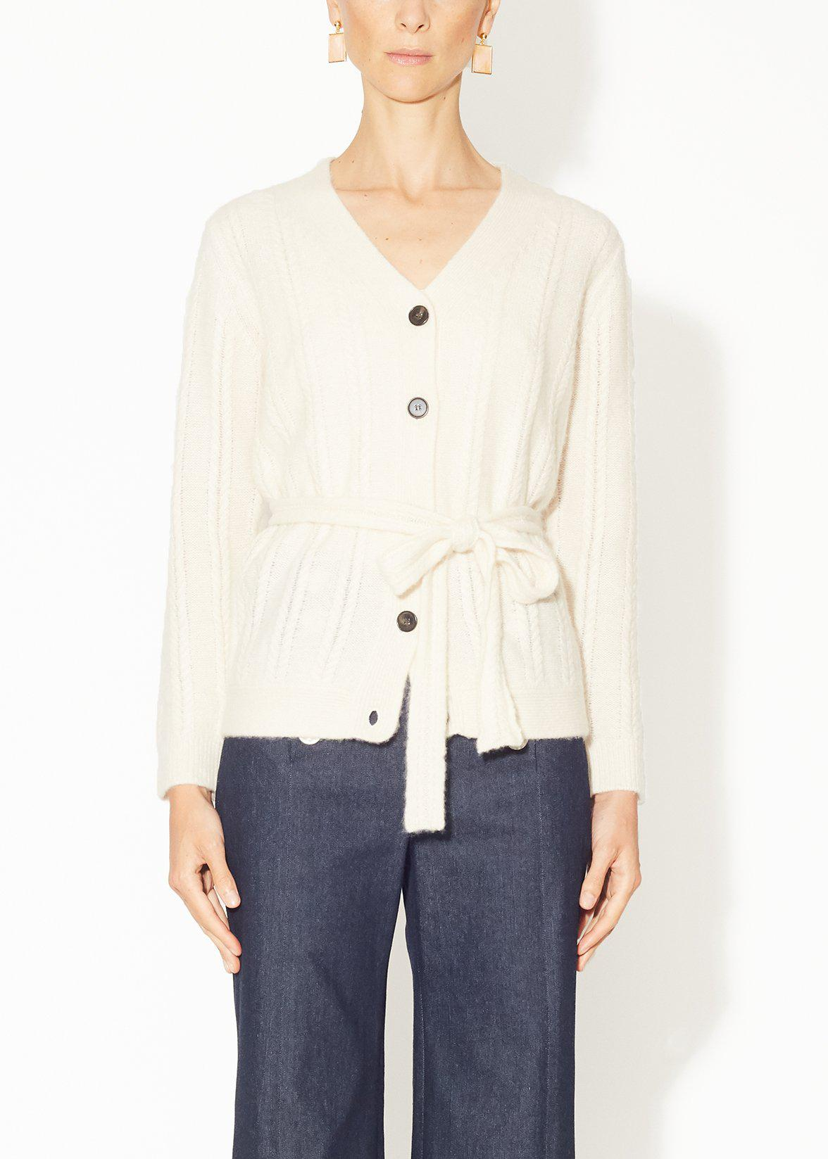 CABLE KNIT CARDIGAN IN BRUSHED CASHMERE