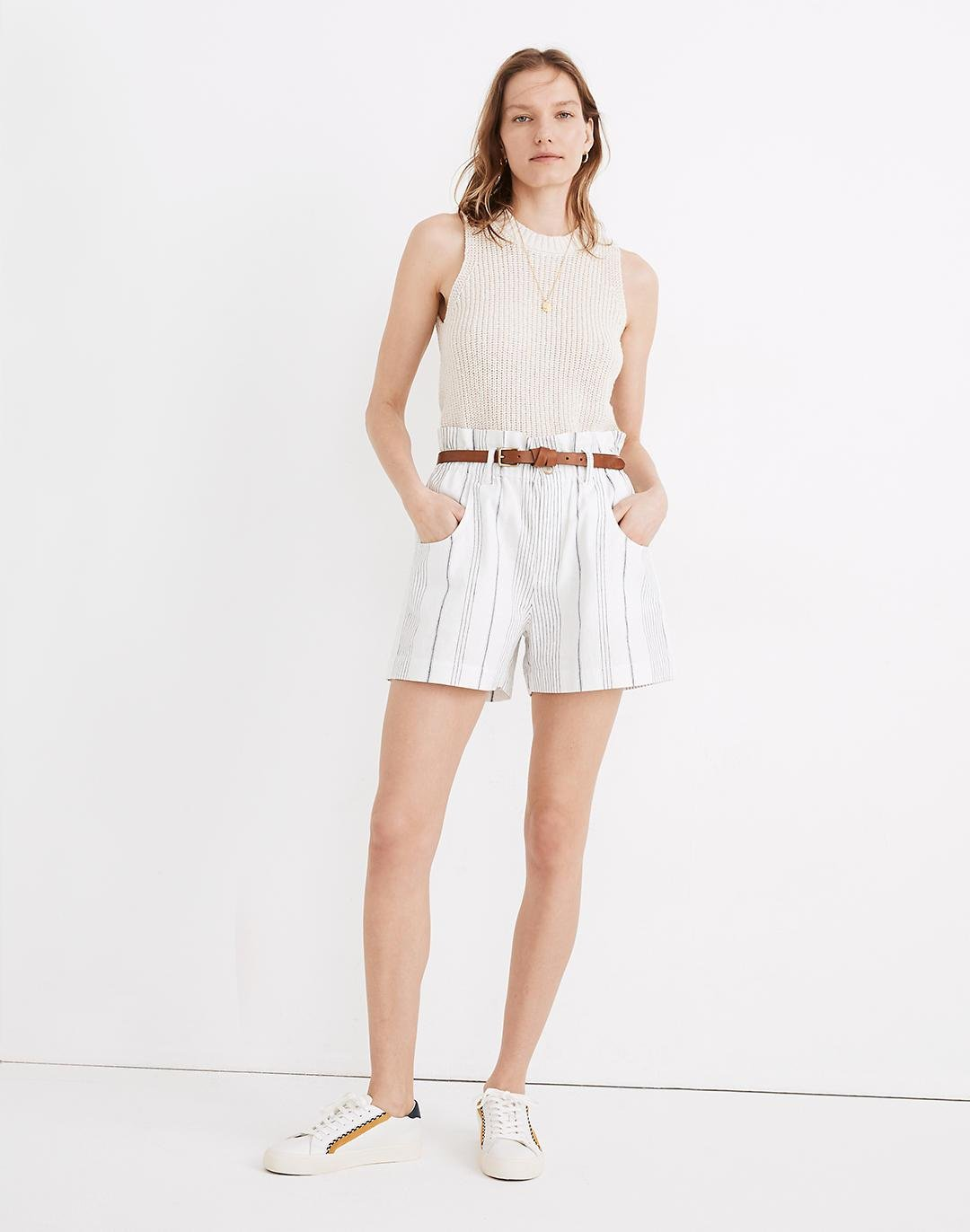 Linen-Cotton Pull-On Paperbag Shorts in Stripe