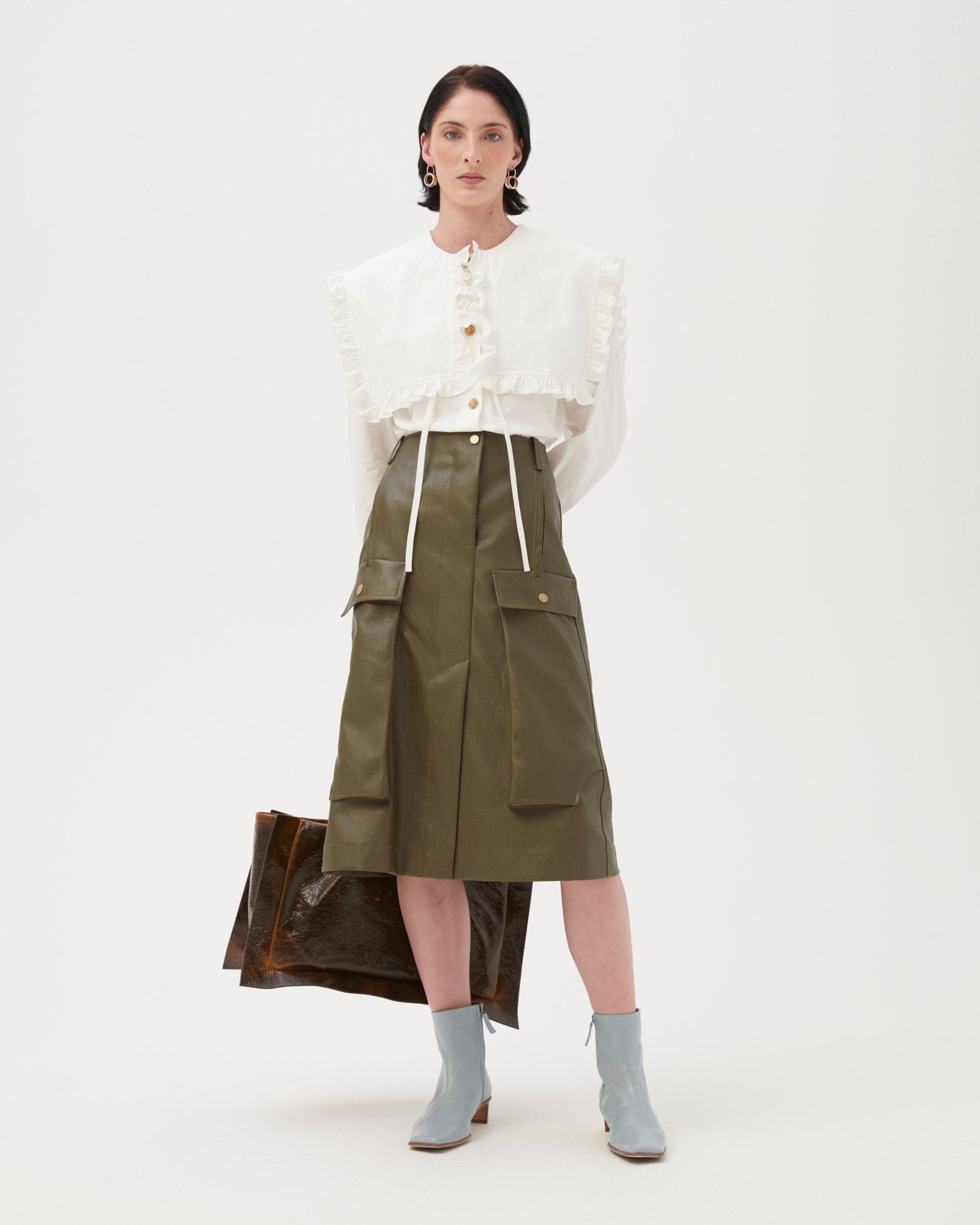 Donna Skirt Faux Leather Marsh Green