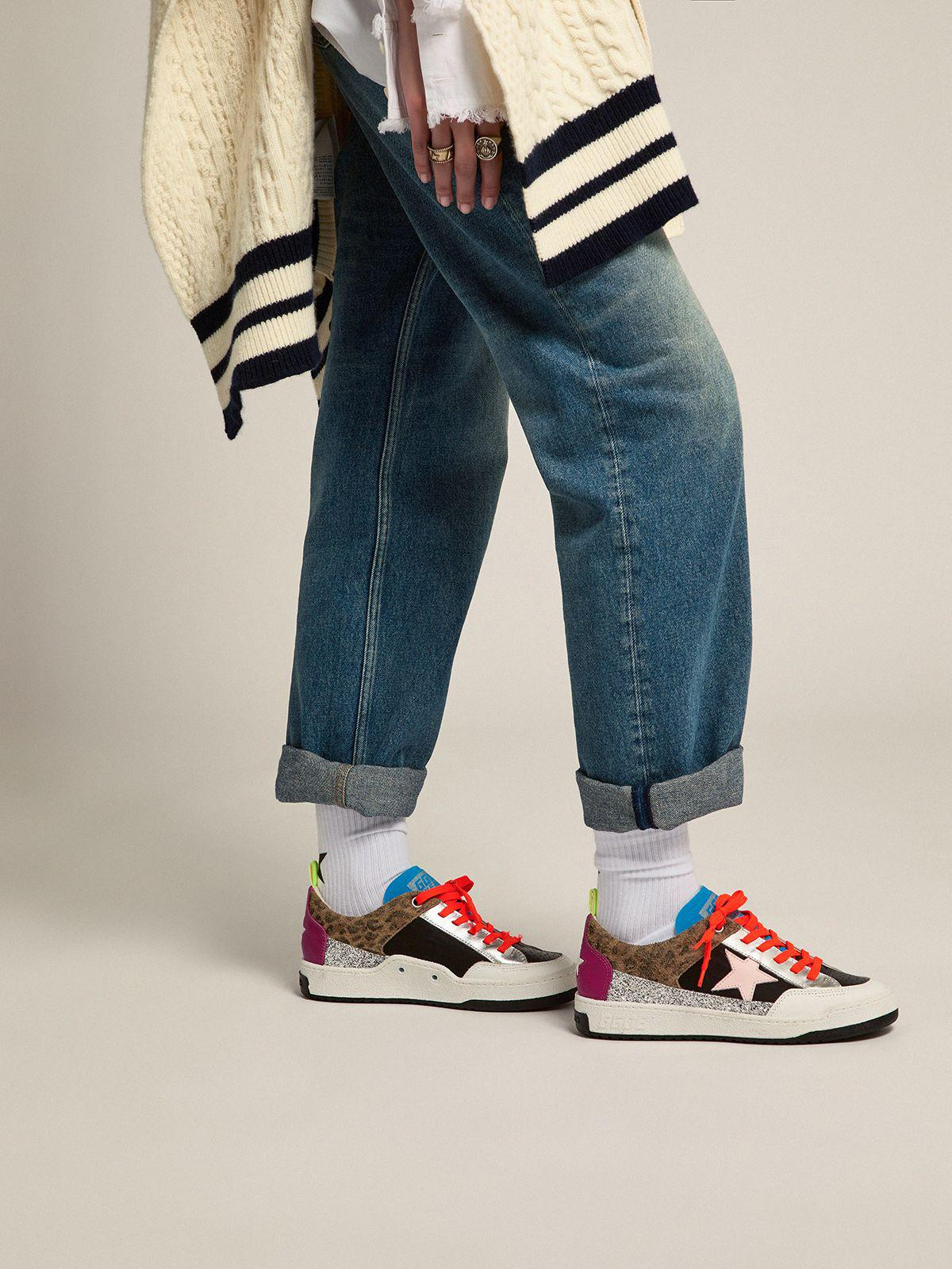 Yeah sneakers with silver glitter, animal-print and colored leather patchwork 4