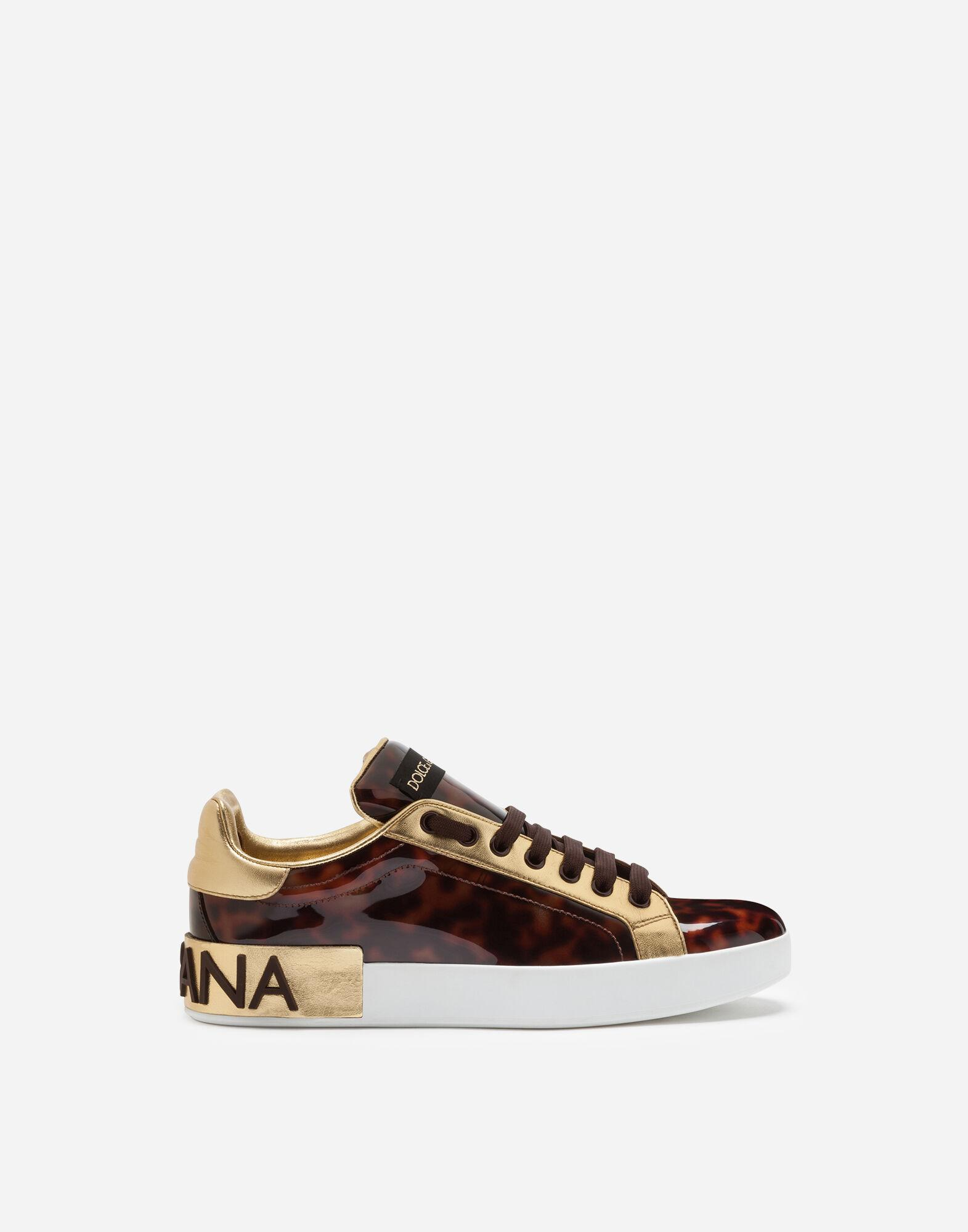 Mother-of-pearl Portofino print patent leather sneakers