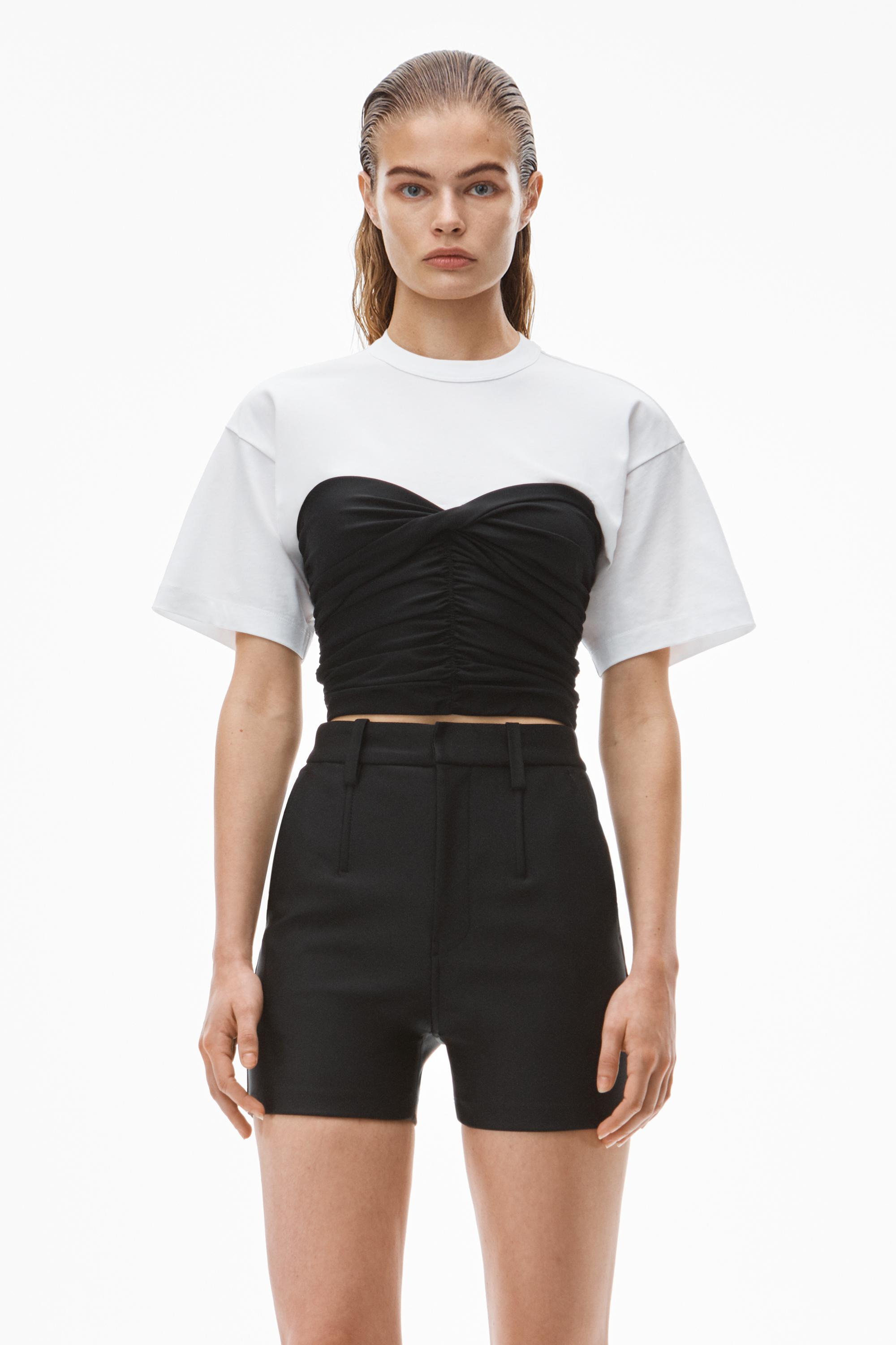hybrid top in fitted ruched spandex