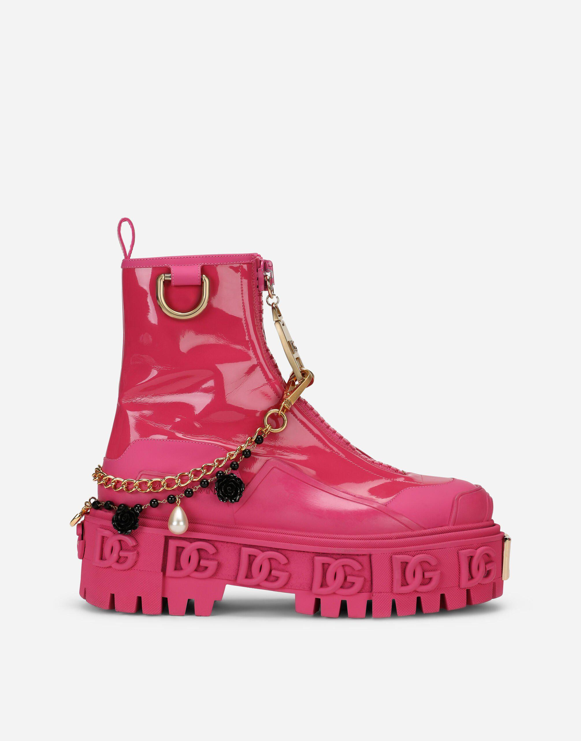 Rubberized calfskin and patent leather ankle boots with bejeweled chain and DG logo