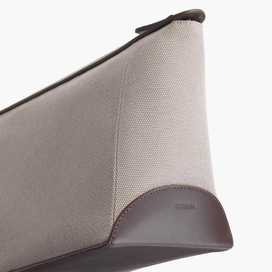 Women's Travel Zipper Pouch in Soft Grey/Dark Brown | Canvas & Smooth Leather by Cuyana 3