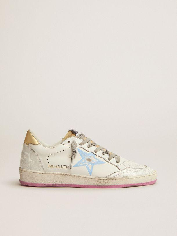 Ball Star sneakers with gold laminated leather heel tab and foam rubber tongue