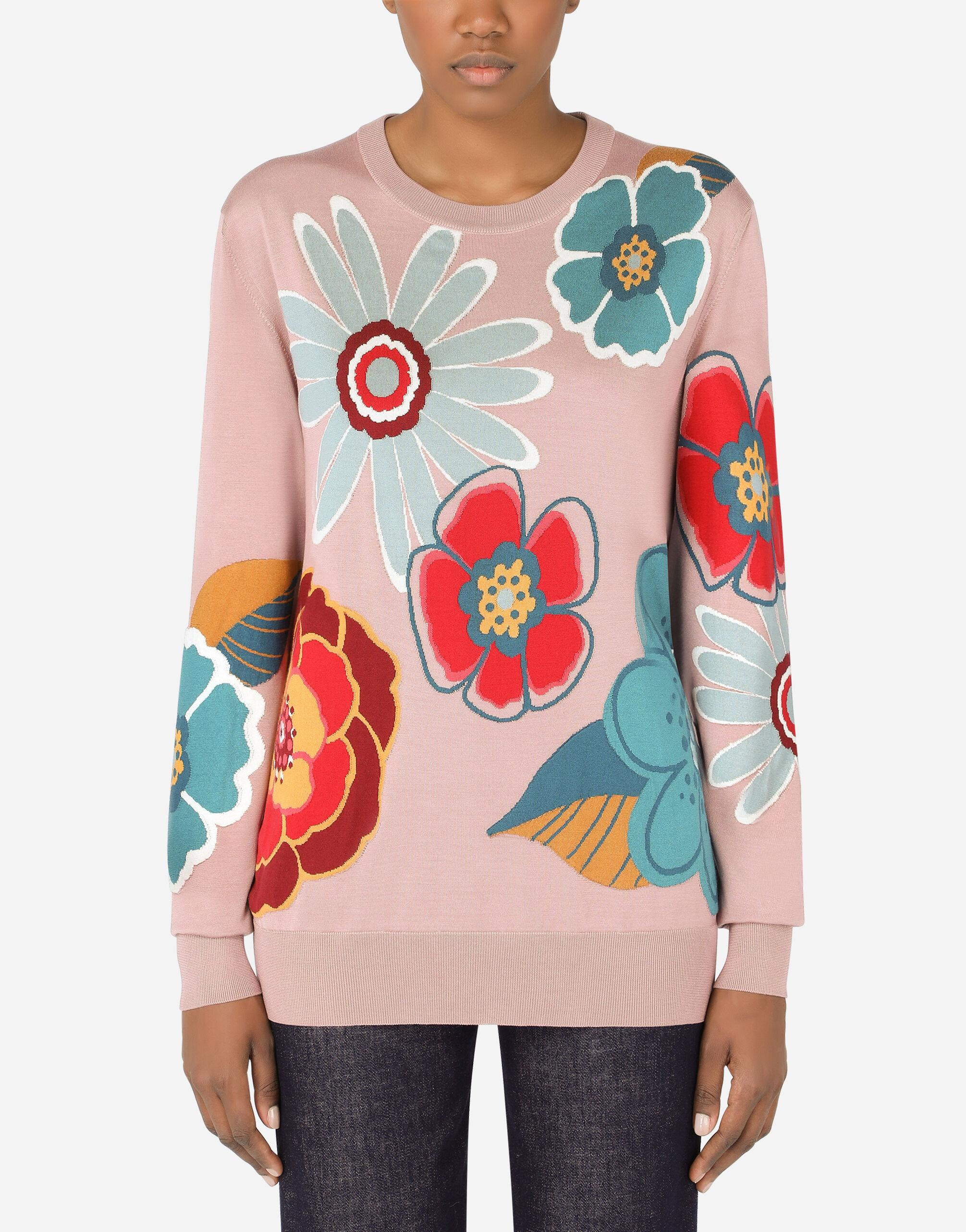 Silk sweater with floral intarsia