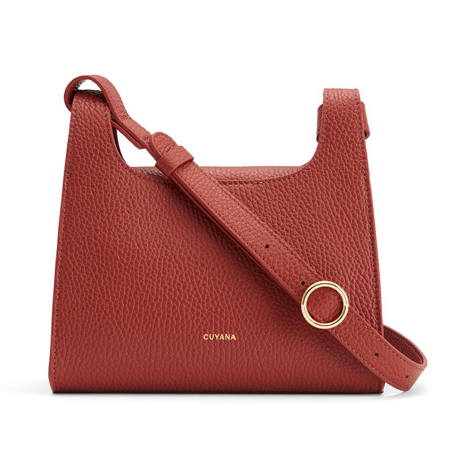 Women's Mini Double Loop Bag in Rust | Pebbled Leather by Cuyana