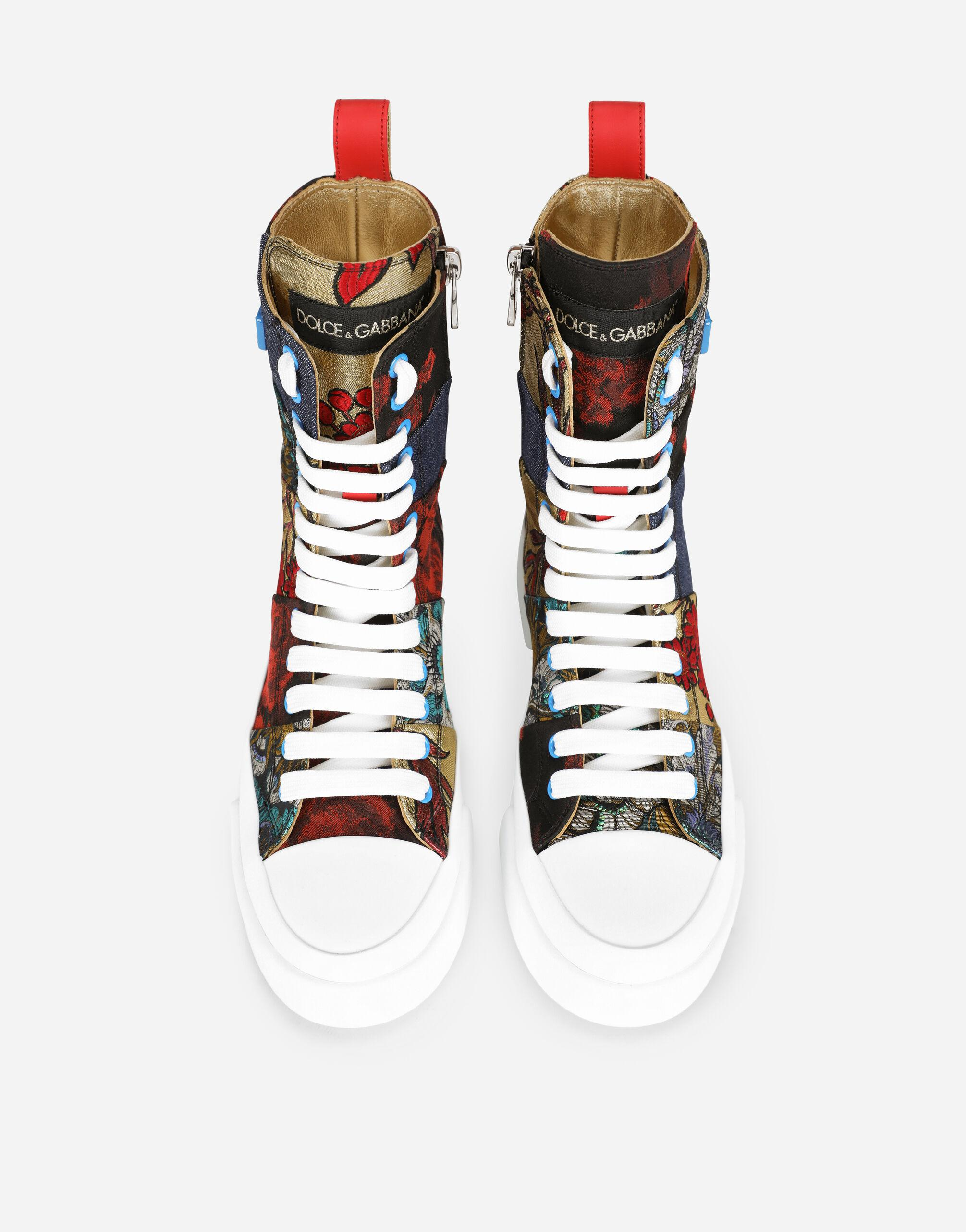 Patchwork fabric Portofino light high-top sneakers with logo plate 3